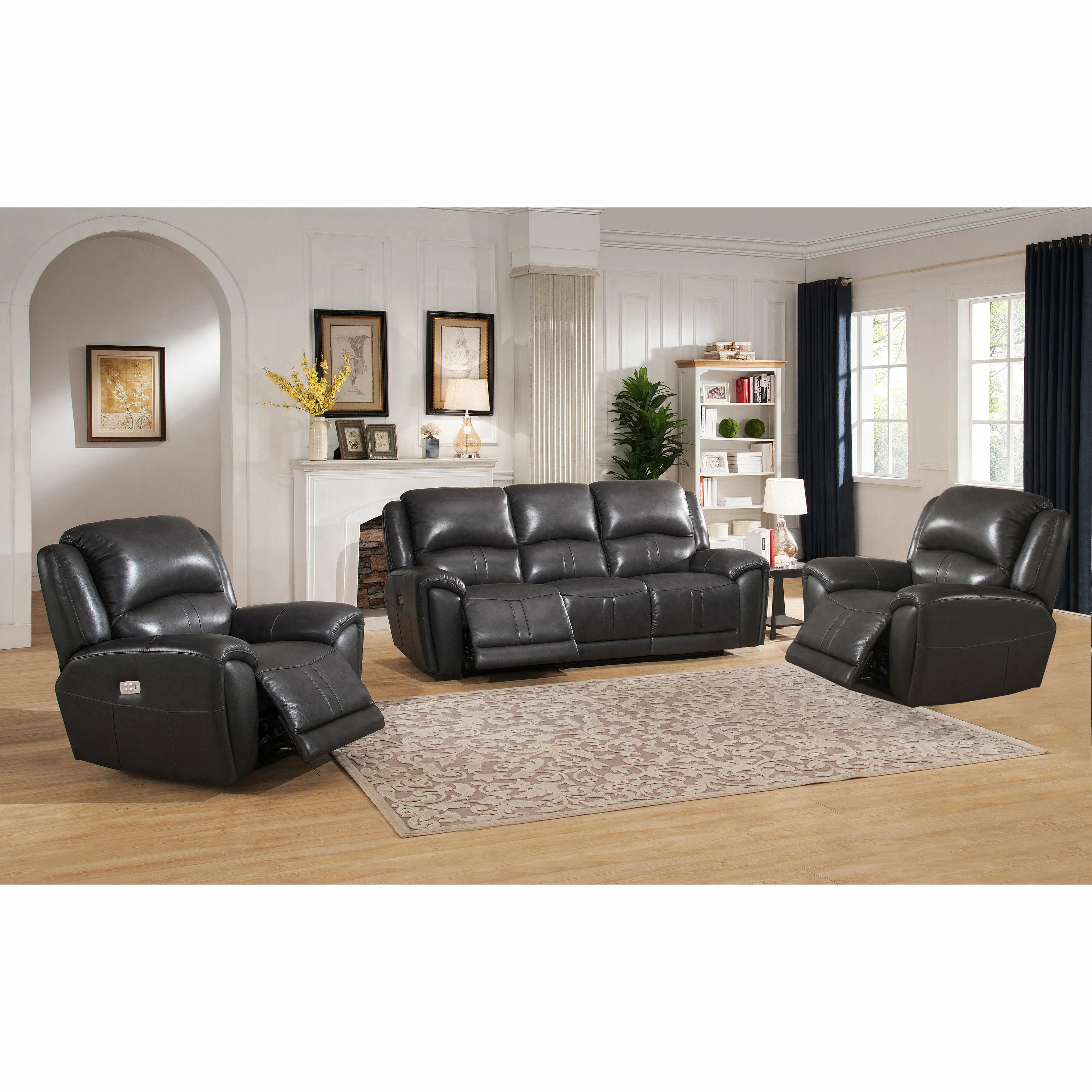 living room sofa two chairs rooms with dark leather couches shop ari grey top grain power reclining and on sale ships to canada overstock ca 18754993