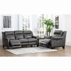 Futura Leather And Vinyl Power Reclining Sofa With Headrest In Stone Versace Uk Chair Recliner Christies Home Living Sean Alex Grey Premium Top Grain