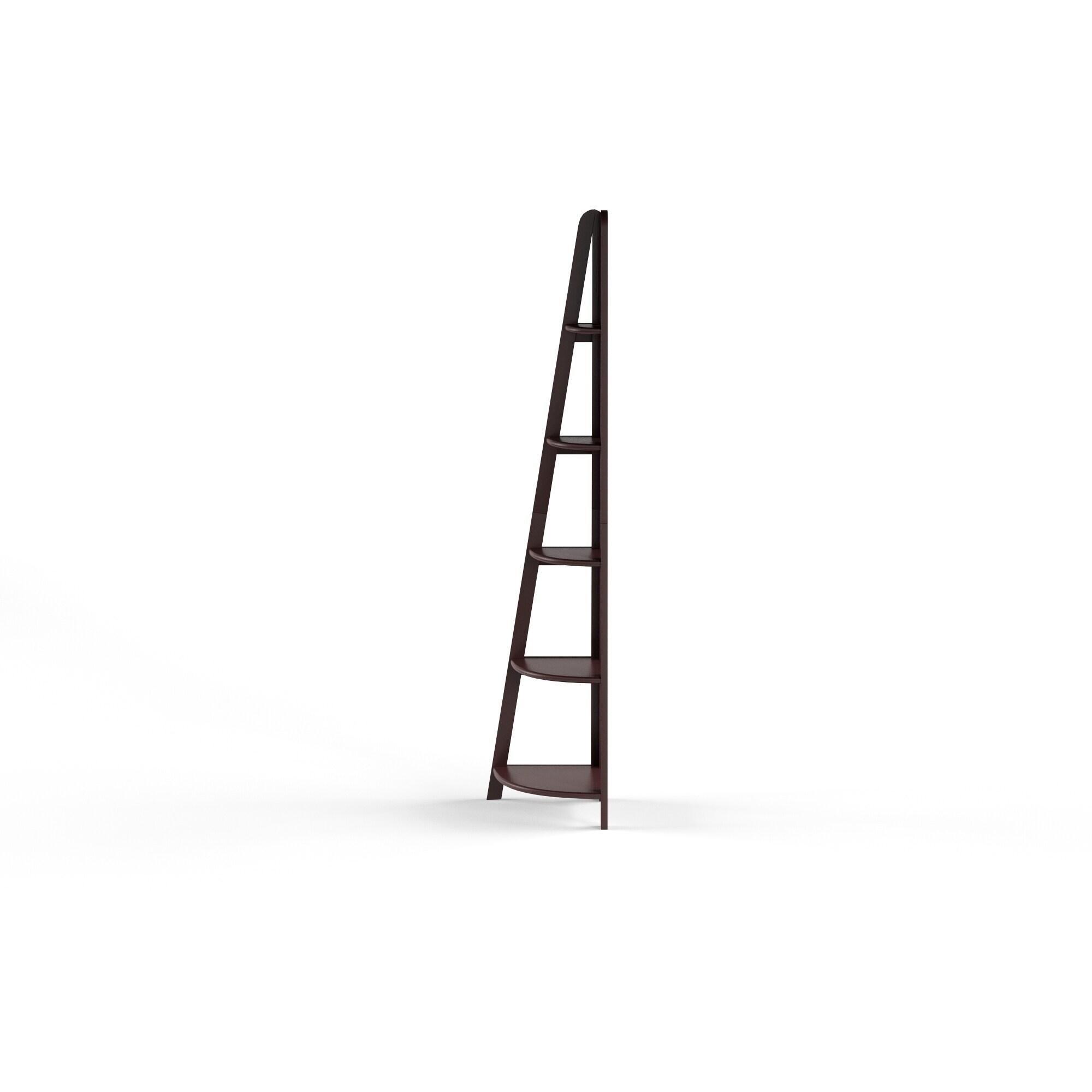 Copper Grove Dagana Espresso Corner Ladder Bookcase With 5 Shelves