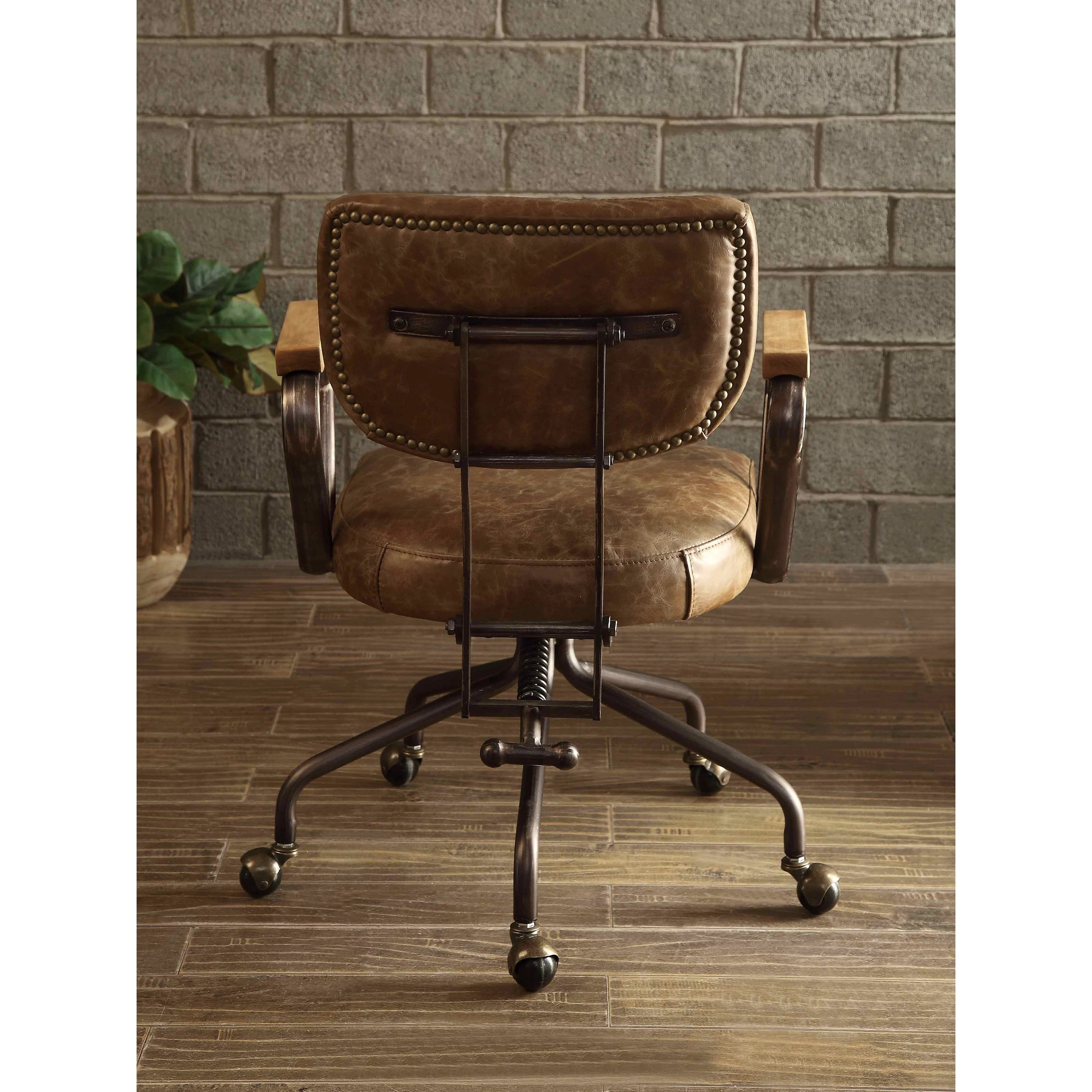 vintage office chairs tot sprout high chair review shop acme hallie executive whiskey top grain leather free shipping today overstock com 19398757