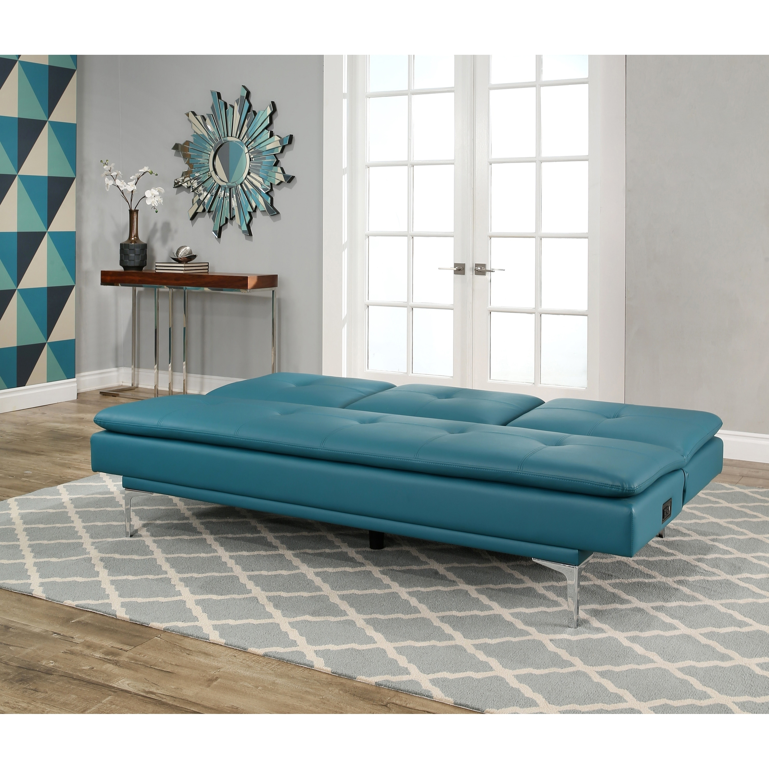 leather chair bed sleeper swivel gaming shop abbyson kilby turquoise bonded sofa with console