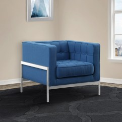 Andre Sofa How To Make Cushions Fuller Shop Armen Living Chair In Stainless Steel And Blue Fabric Free Shipping Today Overstock Com 19448186