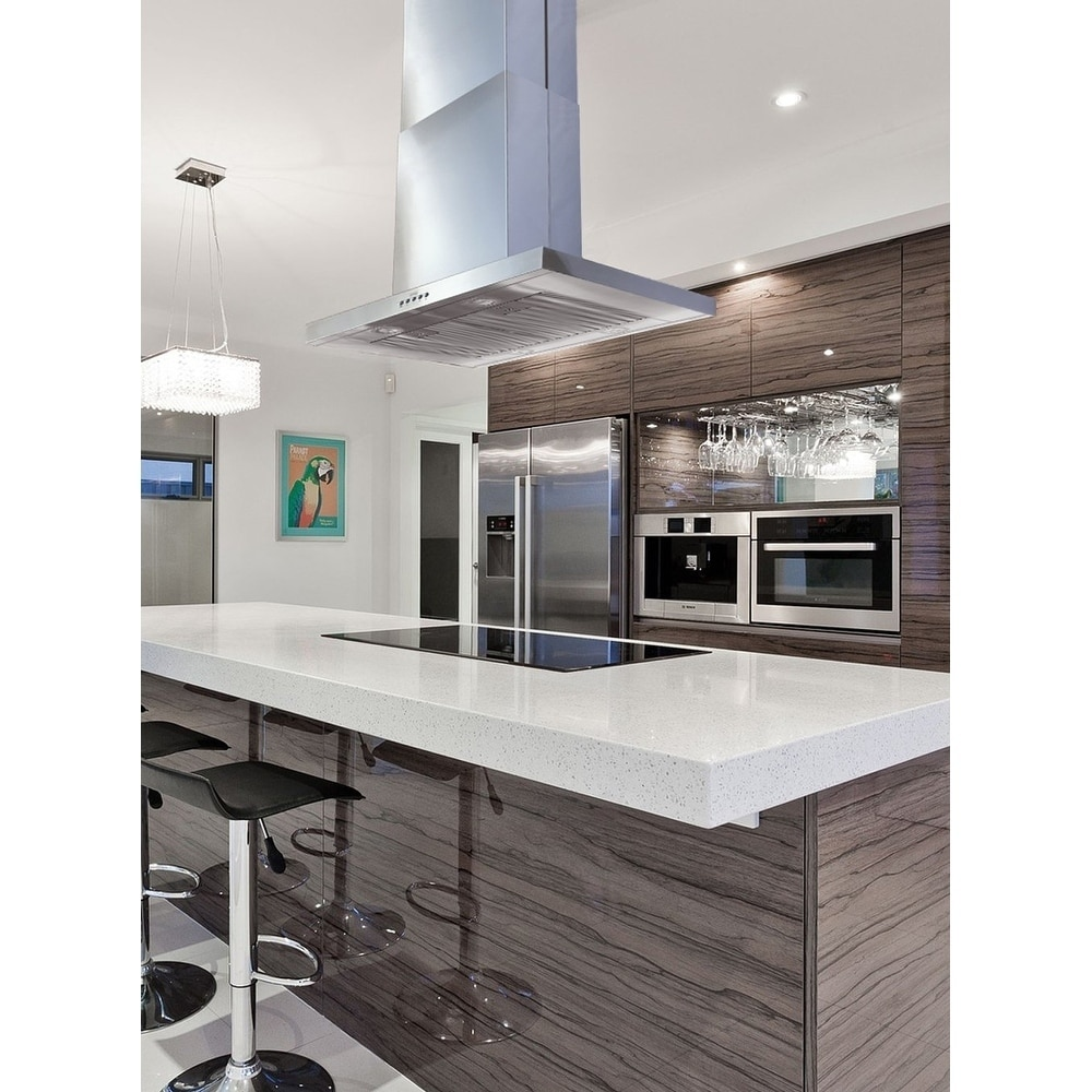 island kitchen hood overstock faucets shop kobe isx21 sqb 2 brillia 30 36 or 42 inch range 3 speed 680 cfm fits ceiling height 8 9 5