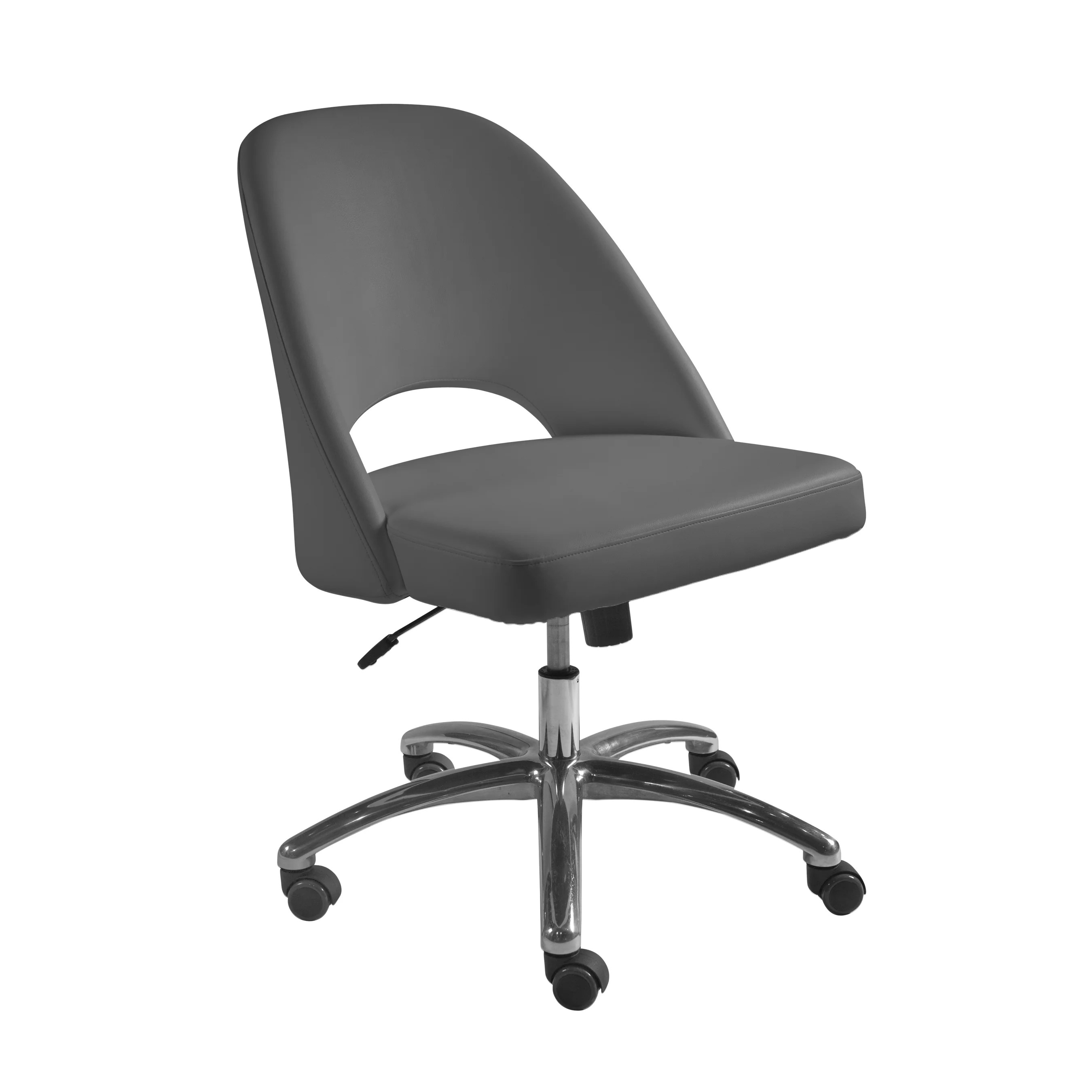 Low Back Office Chair Teague Low Back Office Chair In Gray With Polished Aluminum Base