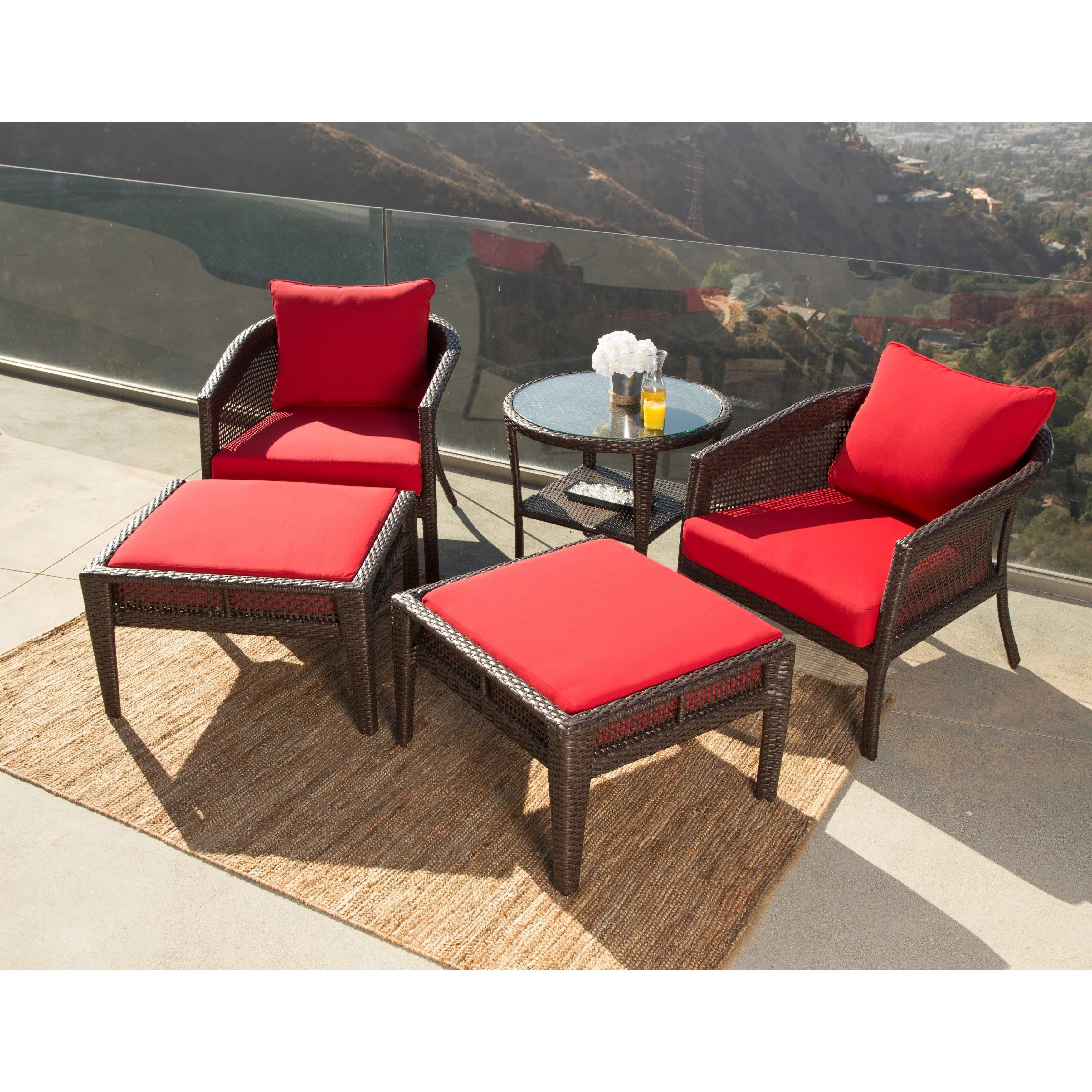 Red Patio Chairs Abbyson Santorini Sunbrella Red Outdoor Wicker 5 Piece Patio Chair Set