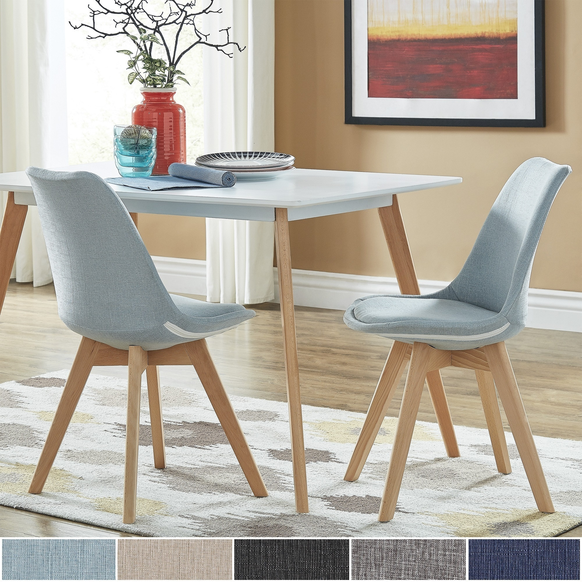 light oak dining chairs swivel chair nebraska furniture mart shop arlo linen upholstered set of 2 by inspire q modern