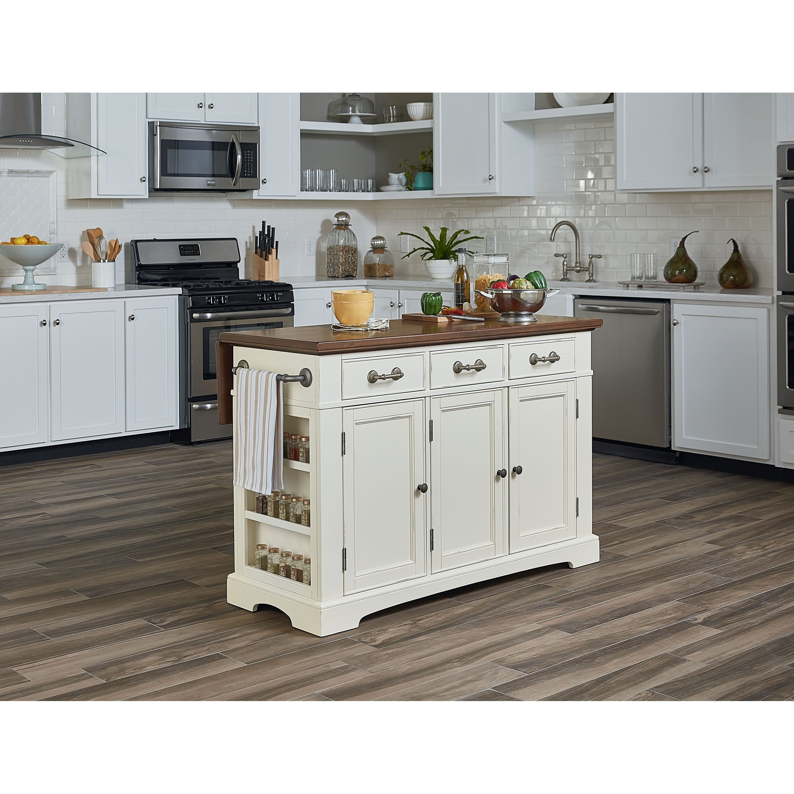 large kitchen island 1950 table and chairs shop osp home furnishings country with white finish vintage oak top n a