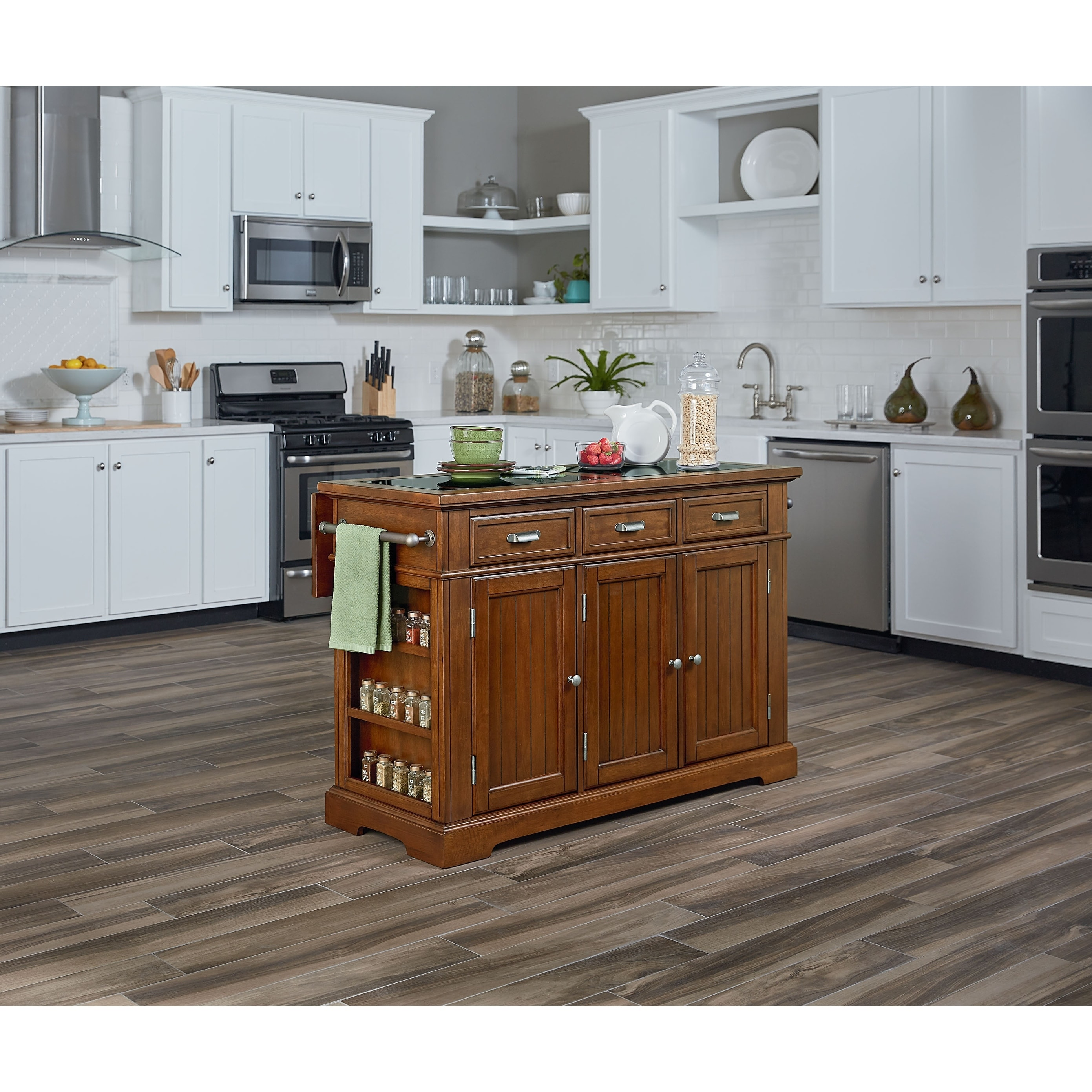 oak kitchen islands stainless steel trash can shop osp home furnishings farmhouse basics vintage island with inlaid granite top