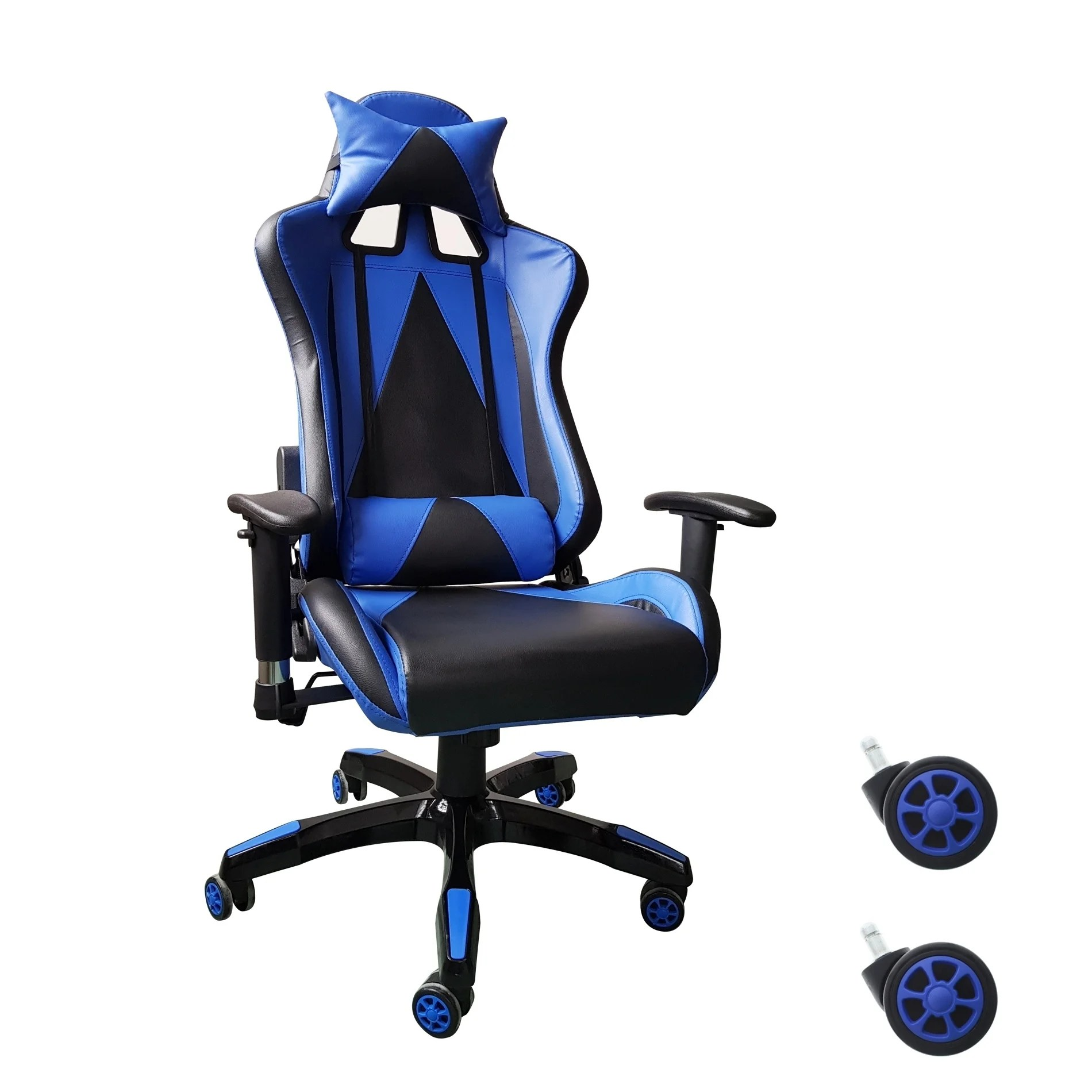 Video Chair Video Gaming Chair Executive Swivel Racing Style High Back Office Chair Lumbar Support Ergonomic With Headrest Blue