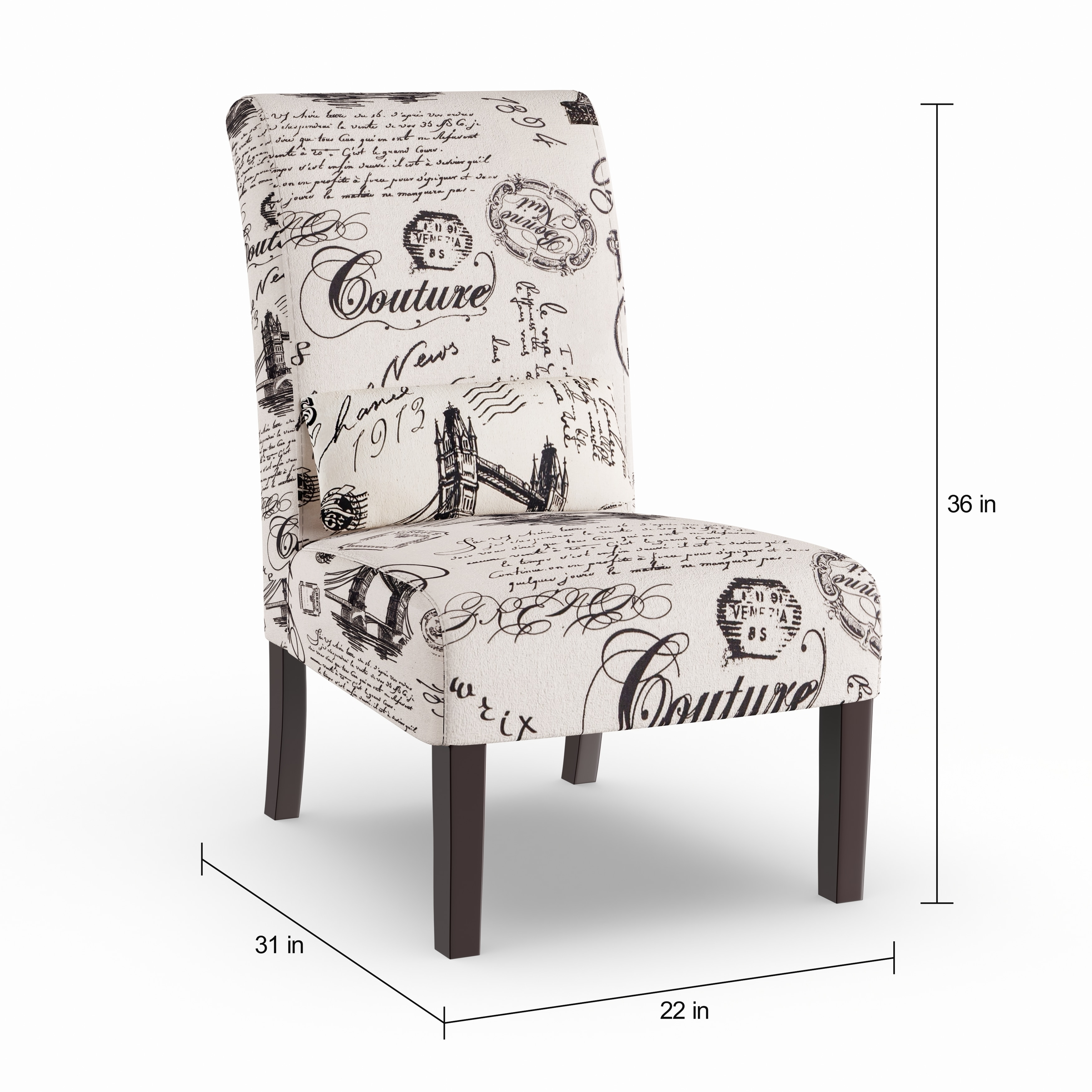 Script Chair Silver Orchid Fabreges Script Linen Print Upholstered Accent Chair With Pillow
