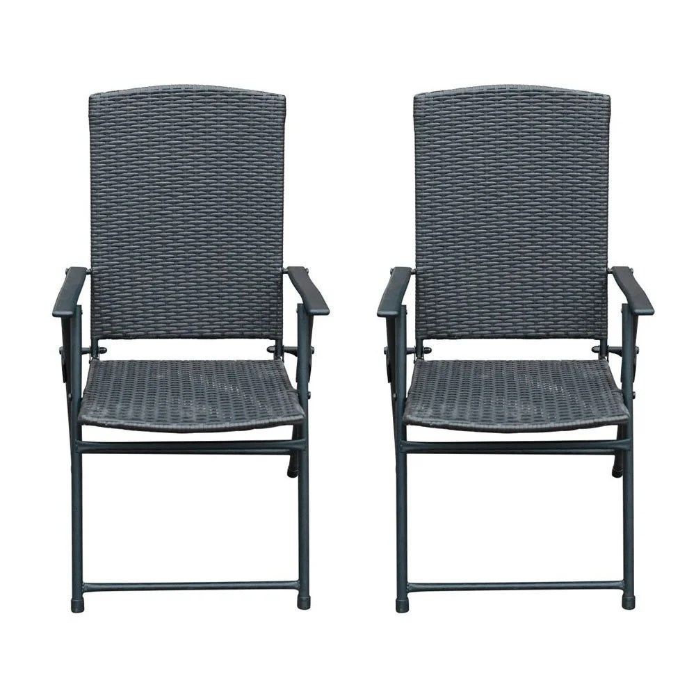 Wicker Chairs Indoor Sunlife Folding Resin Wicker Rattan Chairs Patio Indoor Modern Garden Furniture Chairs Set 2 Pairs Dark Brown