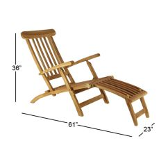 Teak Steamer Chair Plastic Chairs Lowes Shop Farmhouse 36 X 61 Inch Brown Wood Free