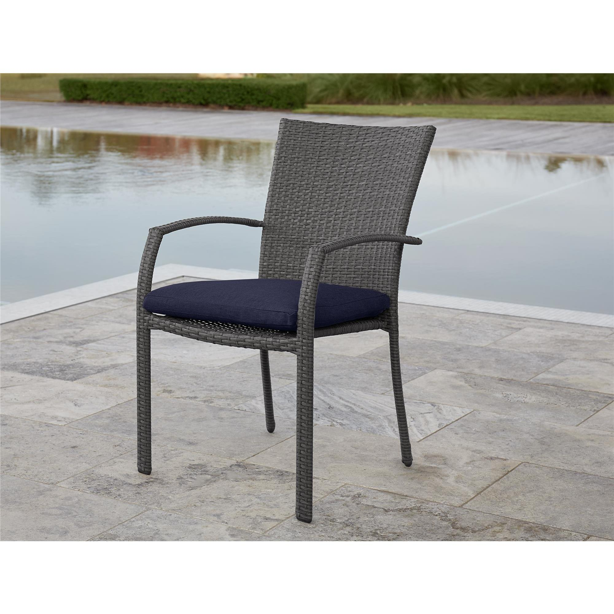 Outdoor Wicker Dining Chairs Avenue Greene Grey Blue Outdoor Woven Wicker Dining Chairs 6 Pack