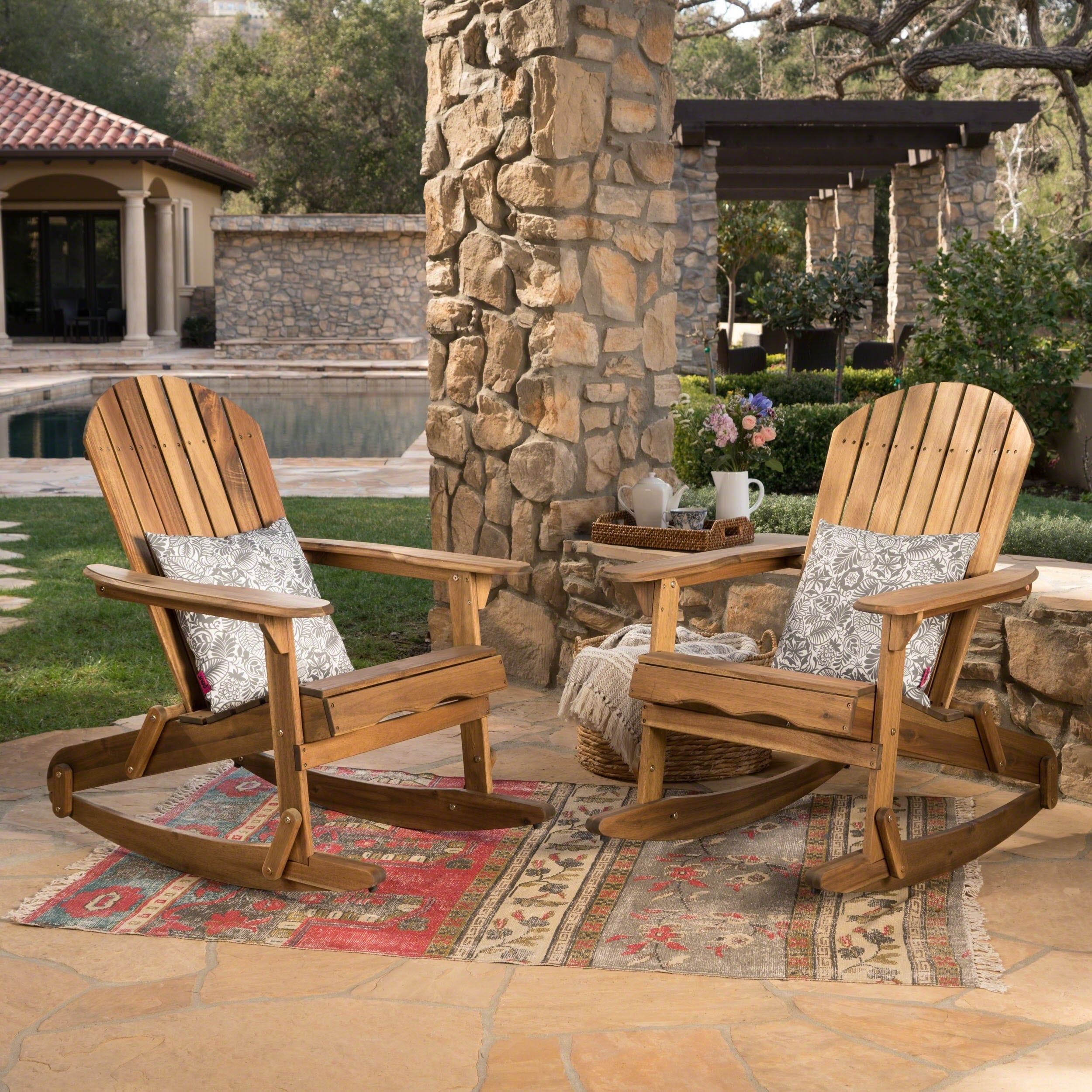 Outdoor Rocking Chair Set Malibu Outdoor Adirondack Rocking Chair Set Of 2 By Christopher Knight Home
