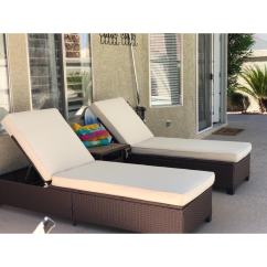 Lounge Chair Patio Otter Bath Shop 3 Pc Outdoor Rattan Chaise Pe Wicker Furniture Adjustable Garden Pool Chairs And Table