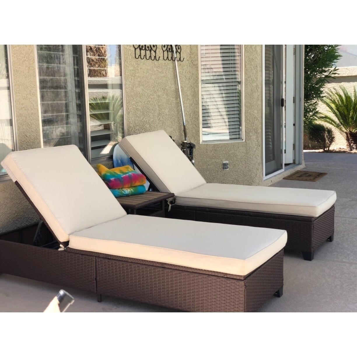 Lounge Chair Patio 3 Pc Outdoor Rattan Chaise Lounge Chair Patio Pe Wicker Rattan Furniture Adjustable Garden Pool Lounge Chairs And Table