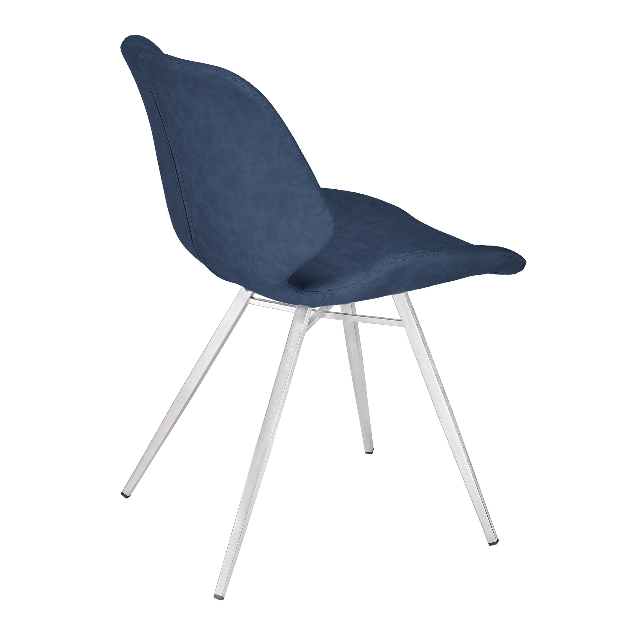 chair cba steel cream leather accent chairs shop armen living valor contemporary dining in brushed stainless with dark vintage blue faux set of 2 on sale free shipping today