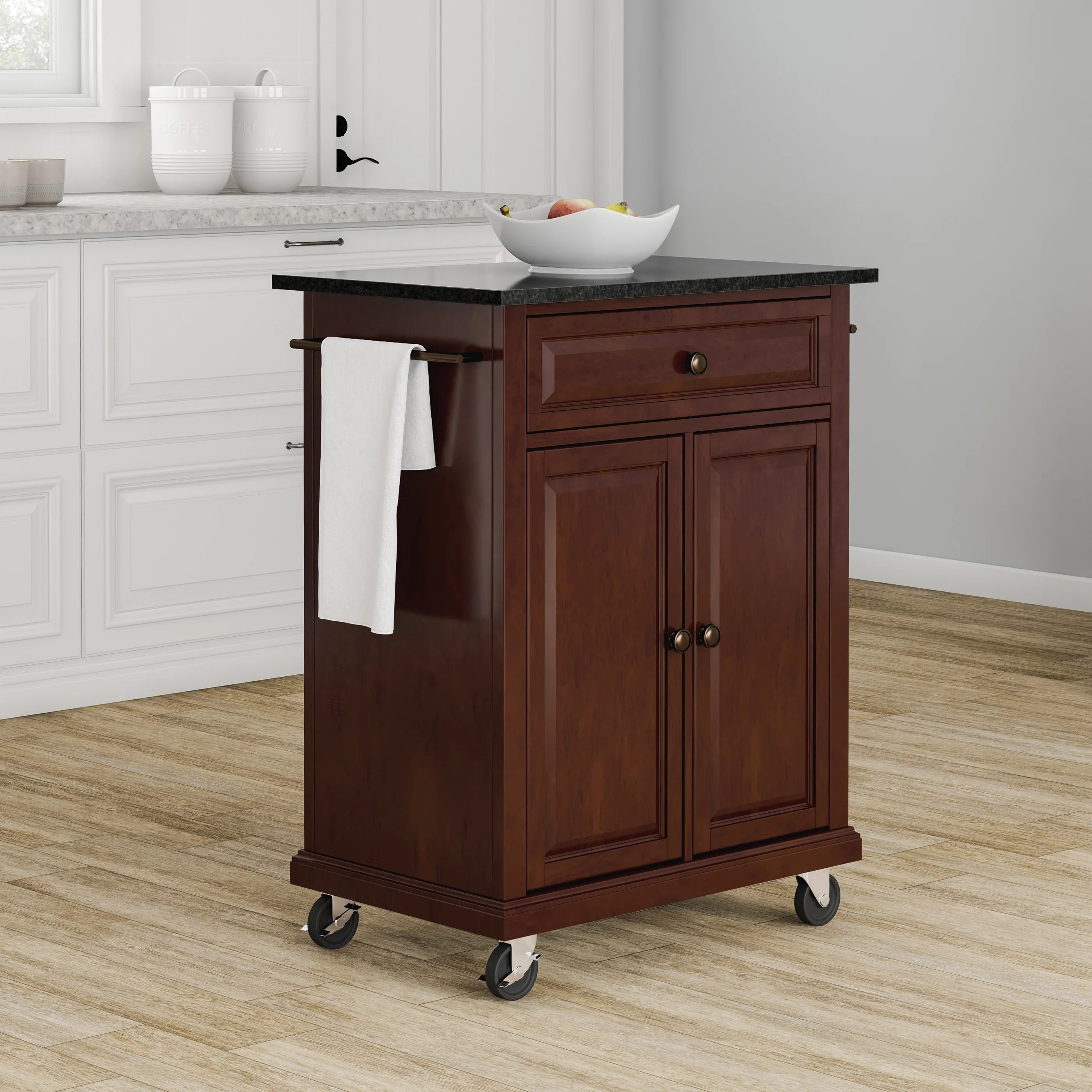 portable kitchen cart cabinet latches shop copper grove kawartha solid black granite top island in vintage mahogany finish free shipping today overstock com 20931575