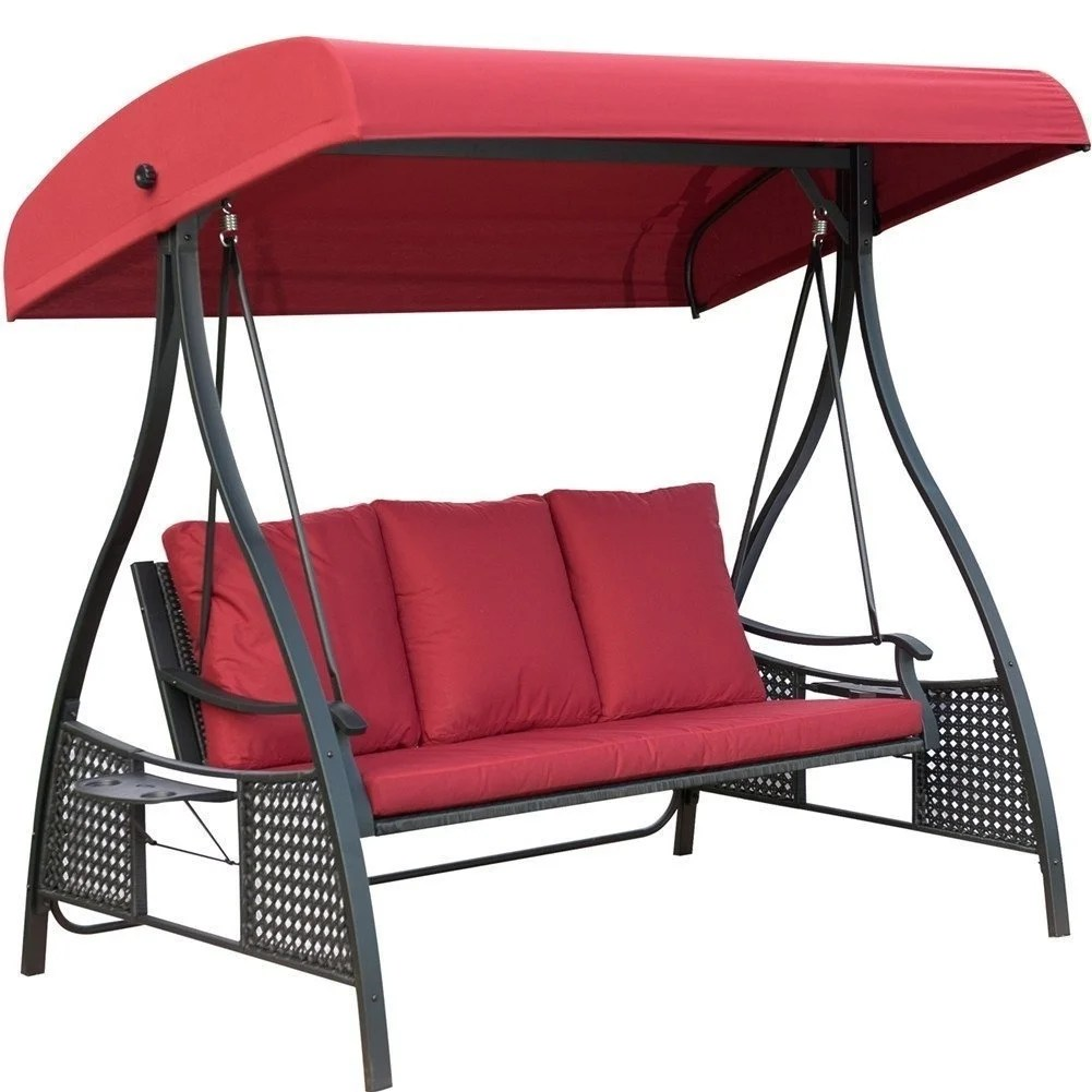 Swinging Chair Outdoor Outdoor Swing Chair Seats 3 Porch Patio Swing Glider With Durable Steel Frame And Padded Cushion Red