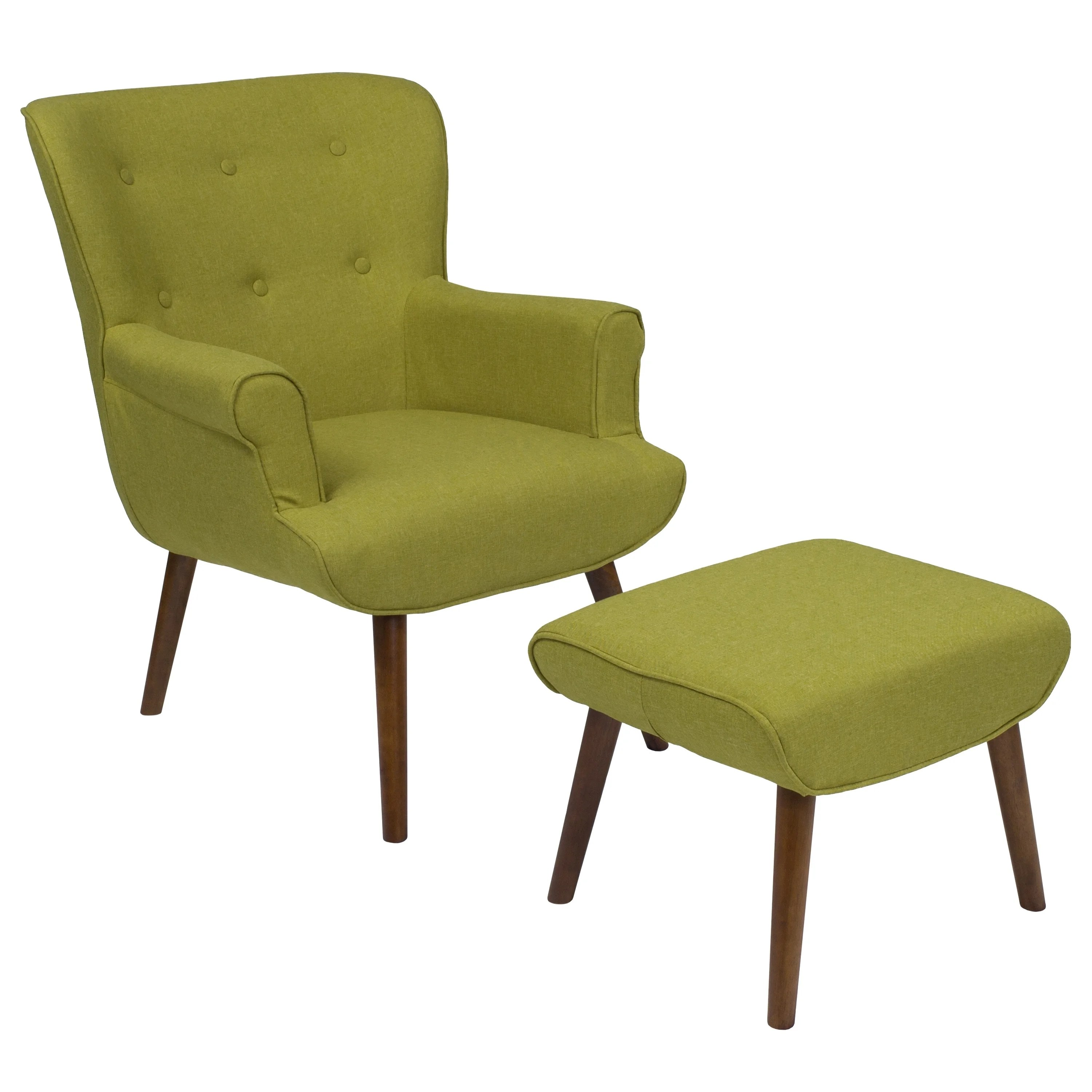 Green Upholstered Chair Hamilton Green Fabric Upholstered Chair And Ottoman Set