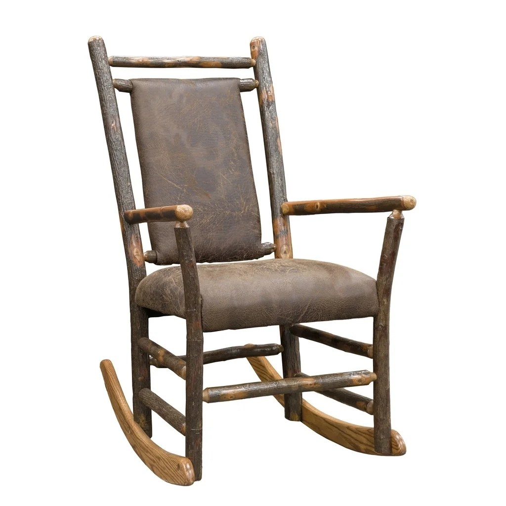 Leather Rocking Chair Rustic Hickory Rocking Chair With Faux Brown Leather Seat And Back