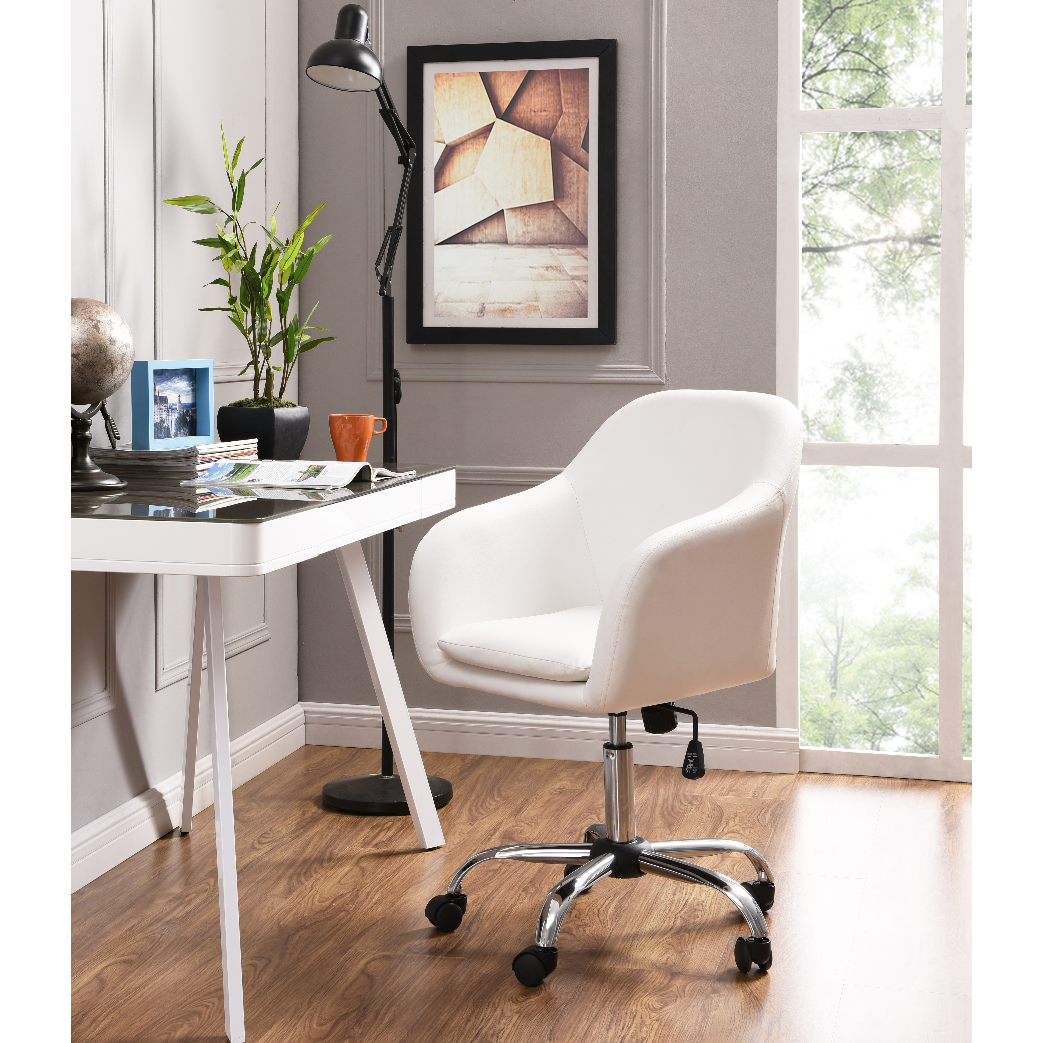 Home Office Desk Chairs Home Office Chair Executive Mid Back Computer Table Desk Chair Swivel Height Adjustable Ergonomic With Armrest White