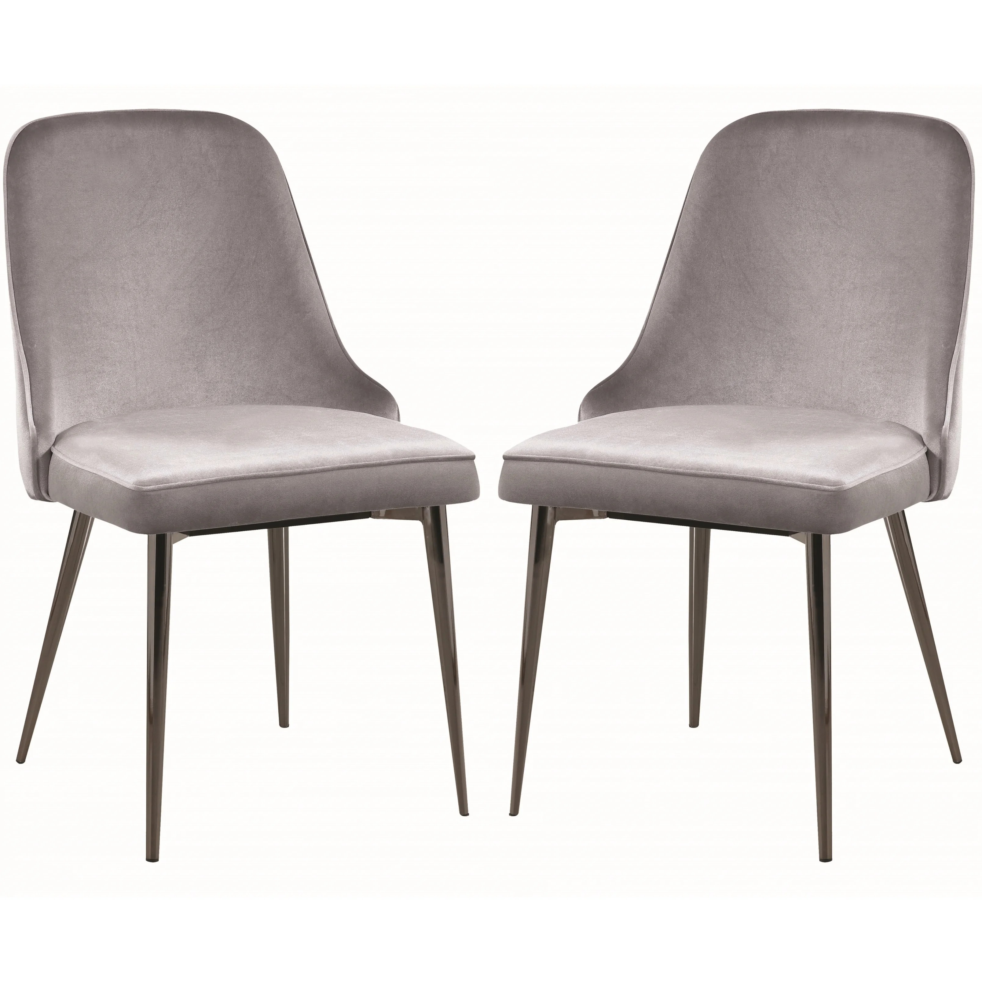 modern gray dining chairs original eames lounge chair shop chic design grey velvet with metal legs set of 4