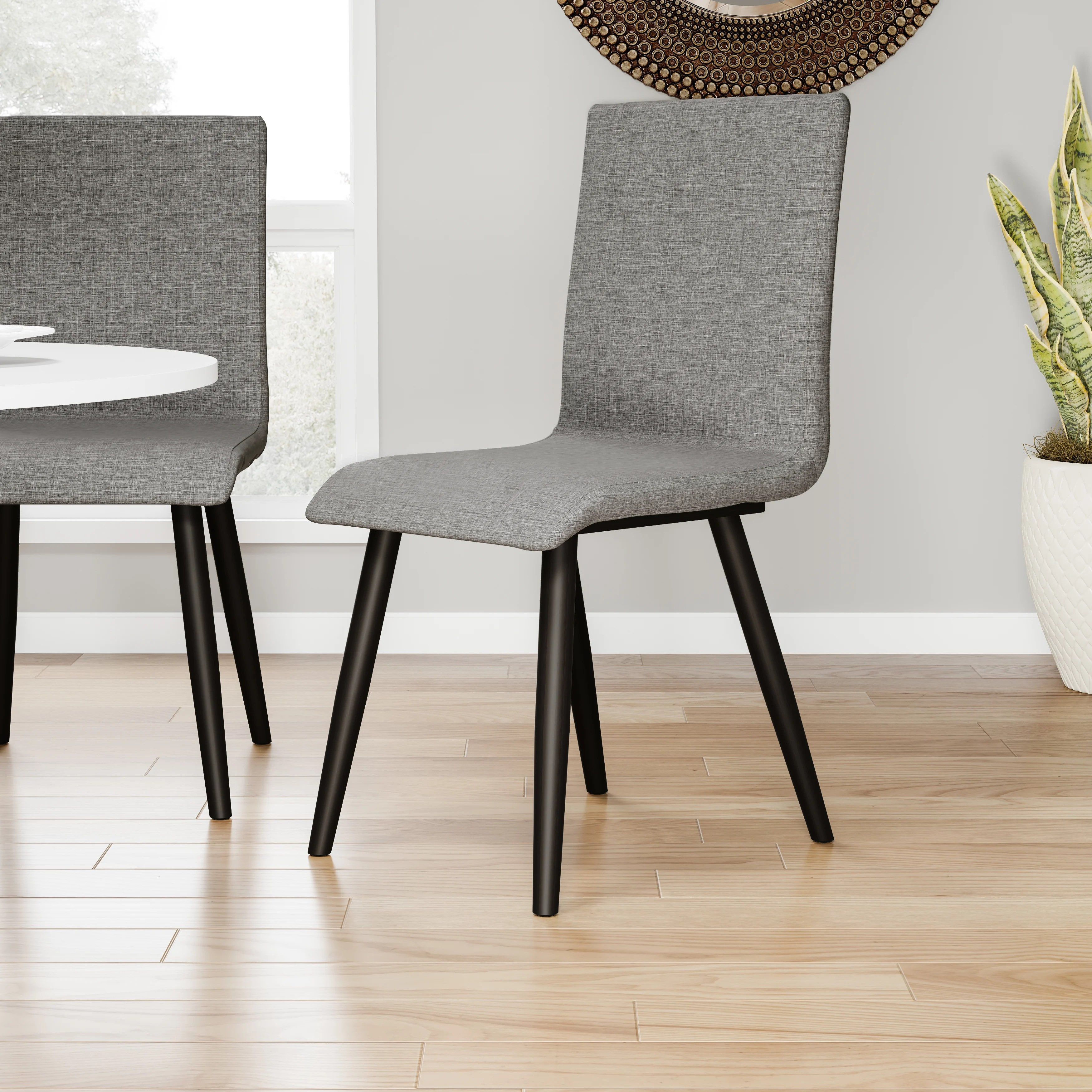 gray upholstered dining chairs egg shaped wicker chair shop carson carrington odda mid century modern style grey set of 2 17 w x 21 1 d 36 h on sale free shipping today