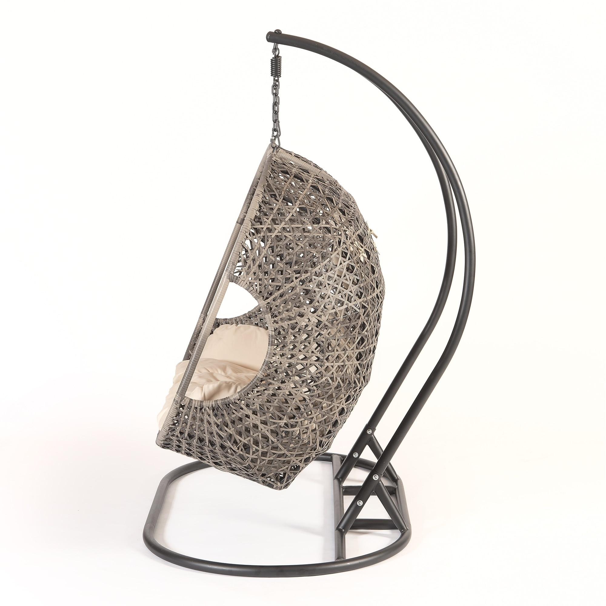 hanging chair swing glider patio chairs canada shop brampton espresso cocoon single with beige cushions on sale free shipping today overstock com 21422530