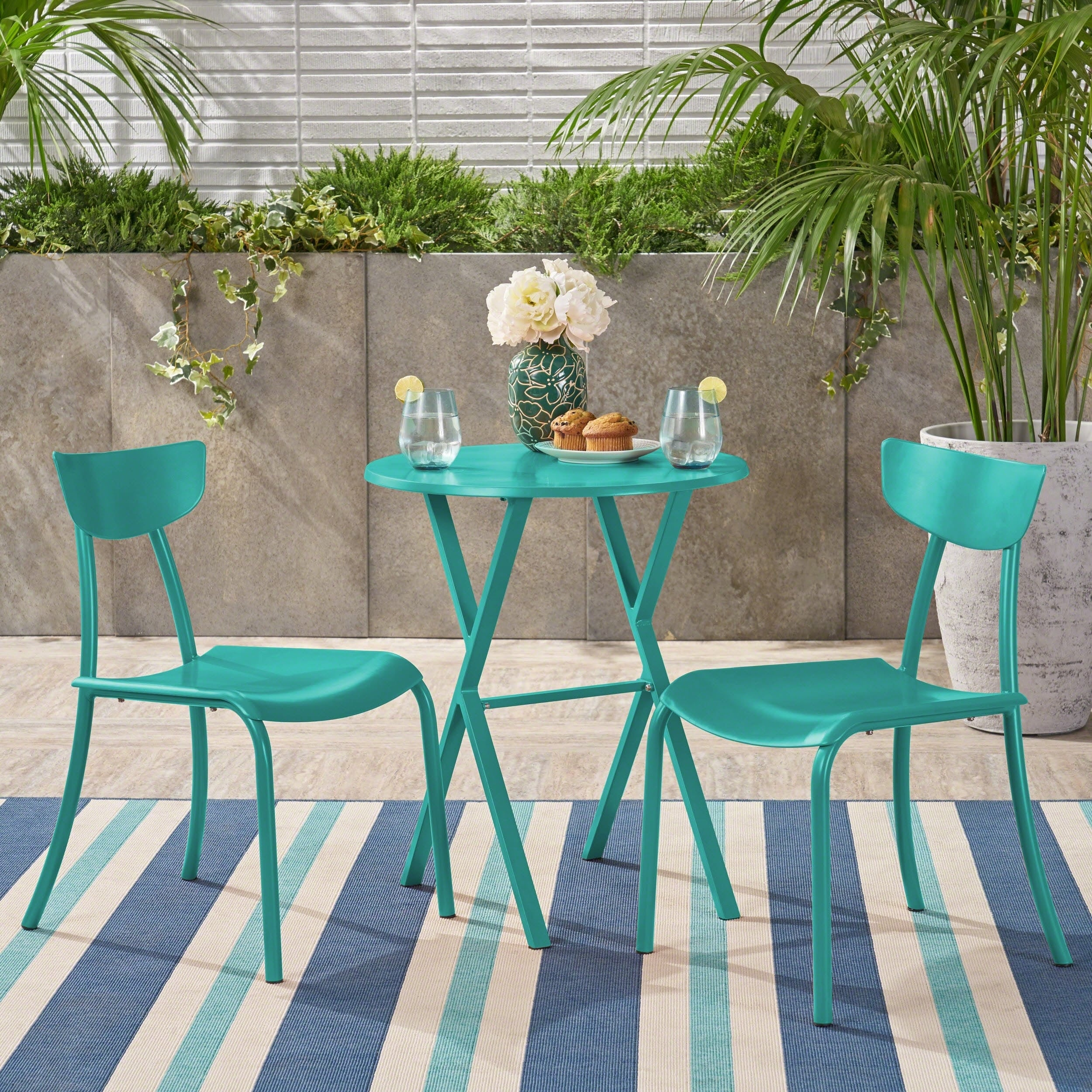Metal Bistro Table And Chairs Taro Outdoor Bistro Set By Christopher Knight Home