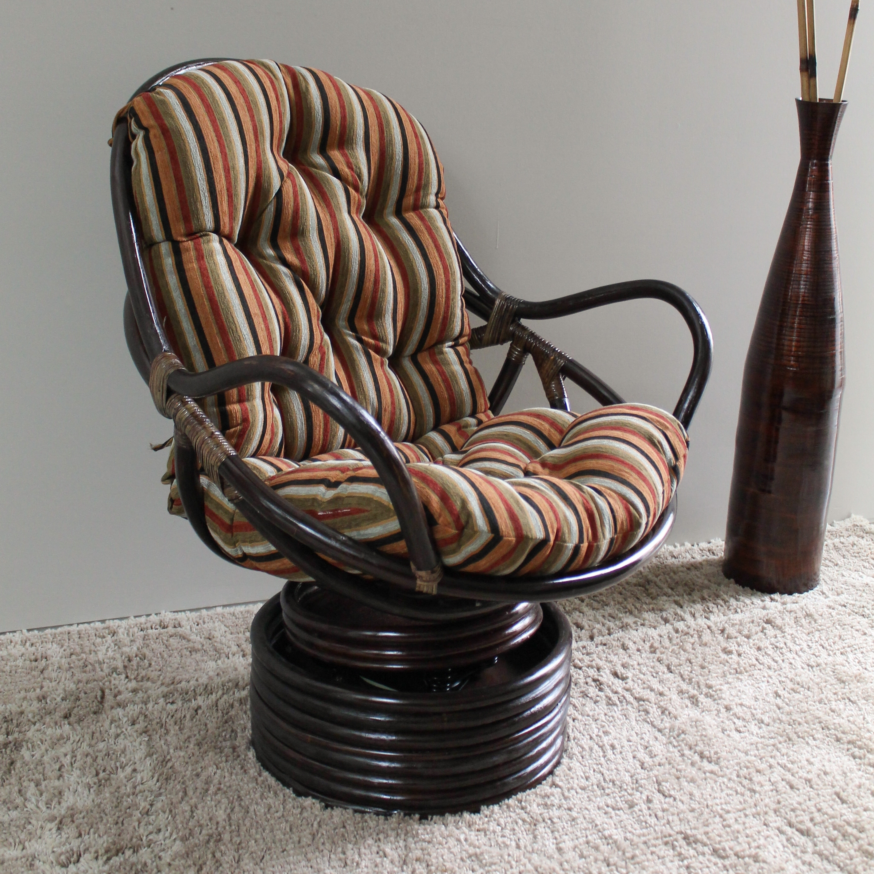 Swivel Rocking Chairs International Caravan Bali Swivel Rocker Chair With Chenille Cushion