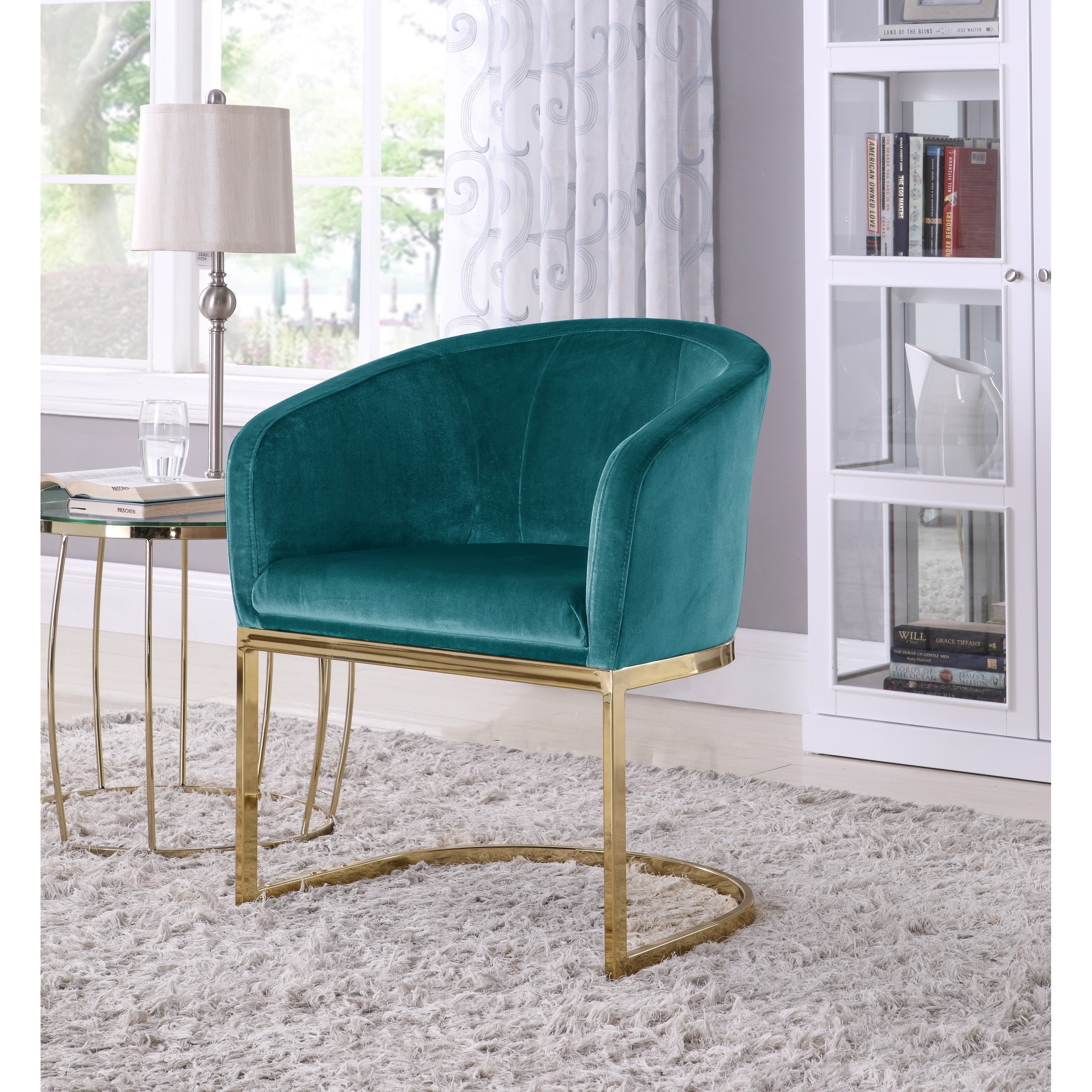 Blue Chair And A Half Chic Home Livorno Velvet Upholstered Half Moon Accent Club Chair