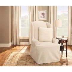 Living Room Chair Slipcovers Swivel Club Chairs For Shop Sure Fit Cotton Duck Wing Slipcover Free Shipping Today