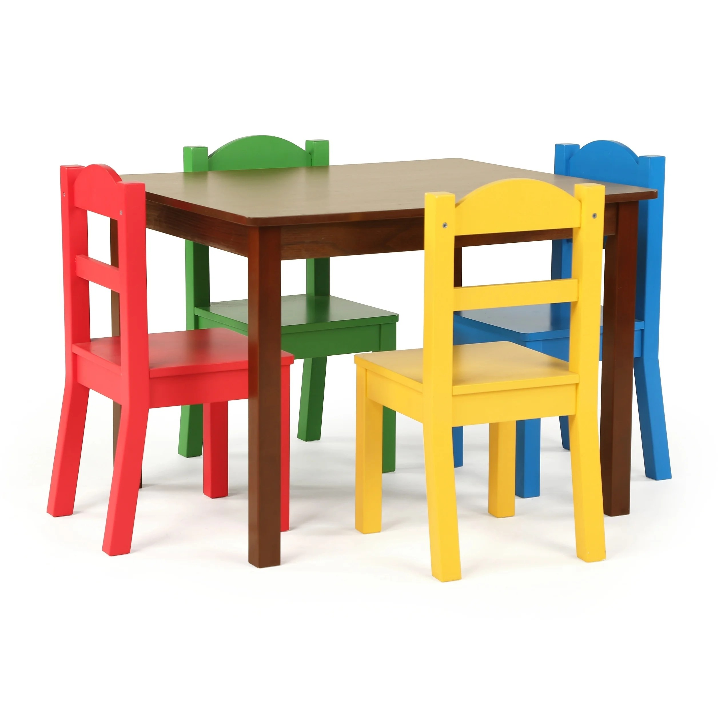 Table With Chairs Discover 5 Piece Wood Kids Table Chairs Set In Dark Walnut Primary