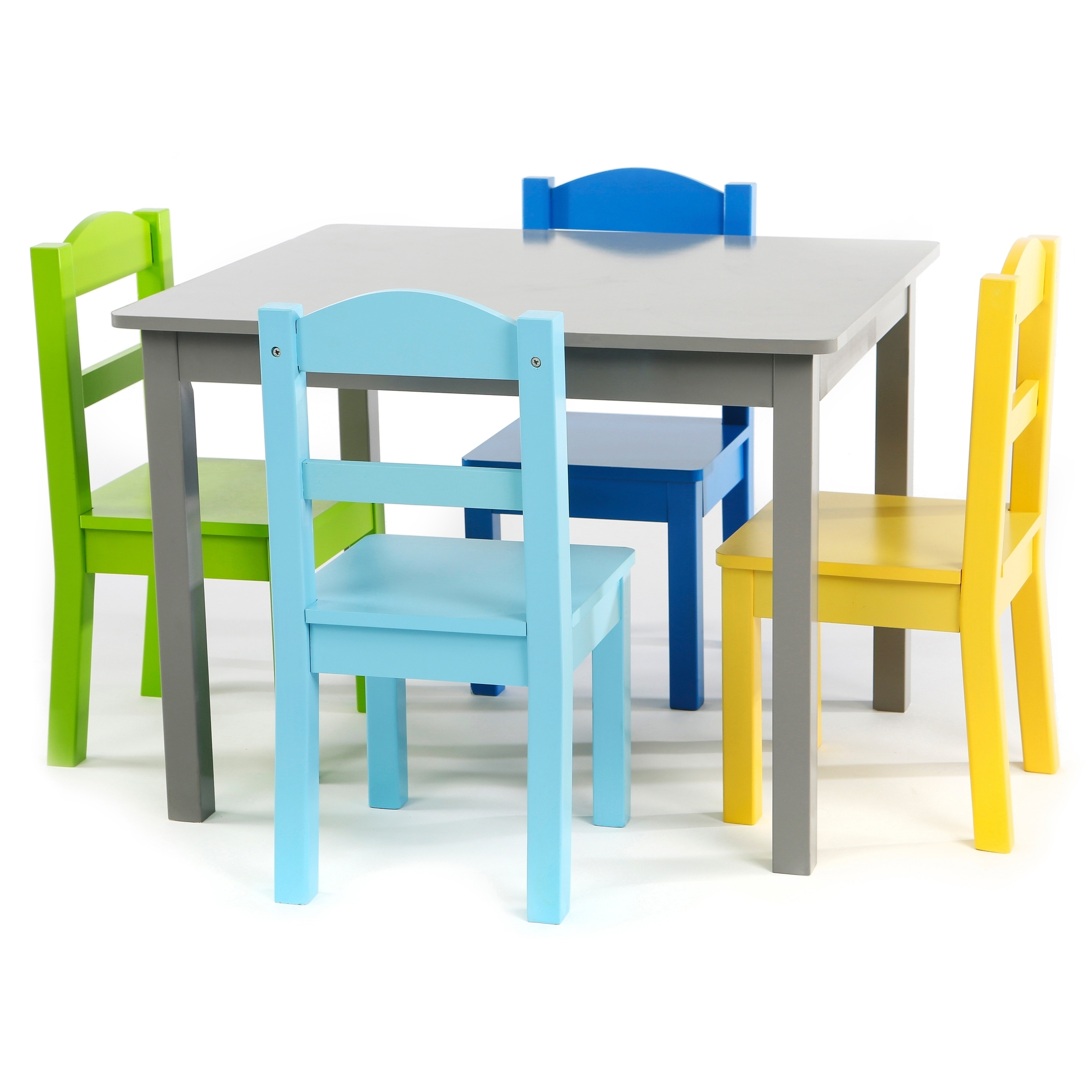 kids table with chairs big lots lawn chair covers shop elements 5 piece wood set in grey multi