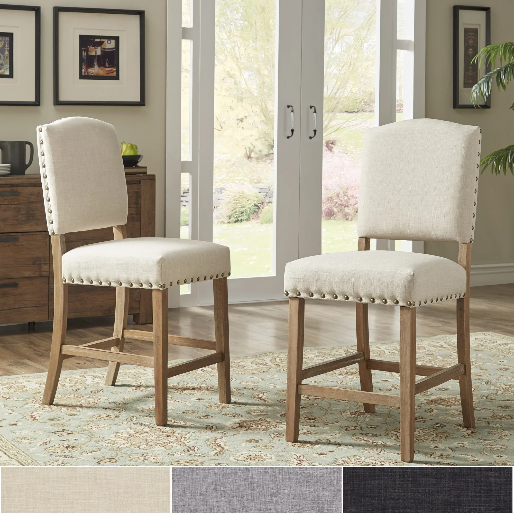 upholstered counter height chairs relax the back reviews shop benchwright premium nailhead set of 2 by inspire q artisan