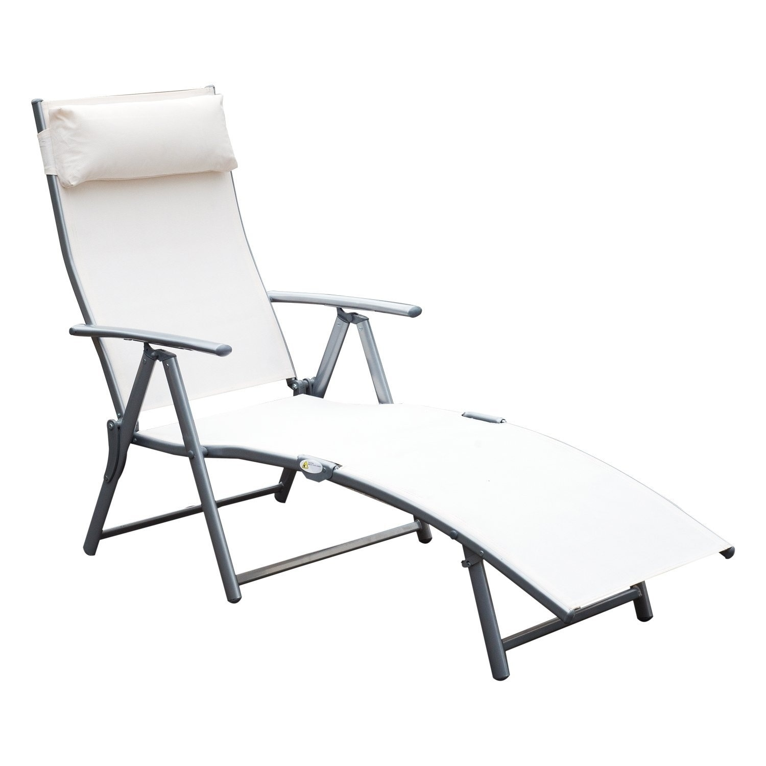folding chaise lounge chair outdoor ikea high recall shop outsunny steel sling fabric recliner cream white