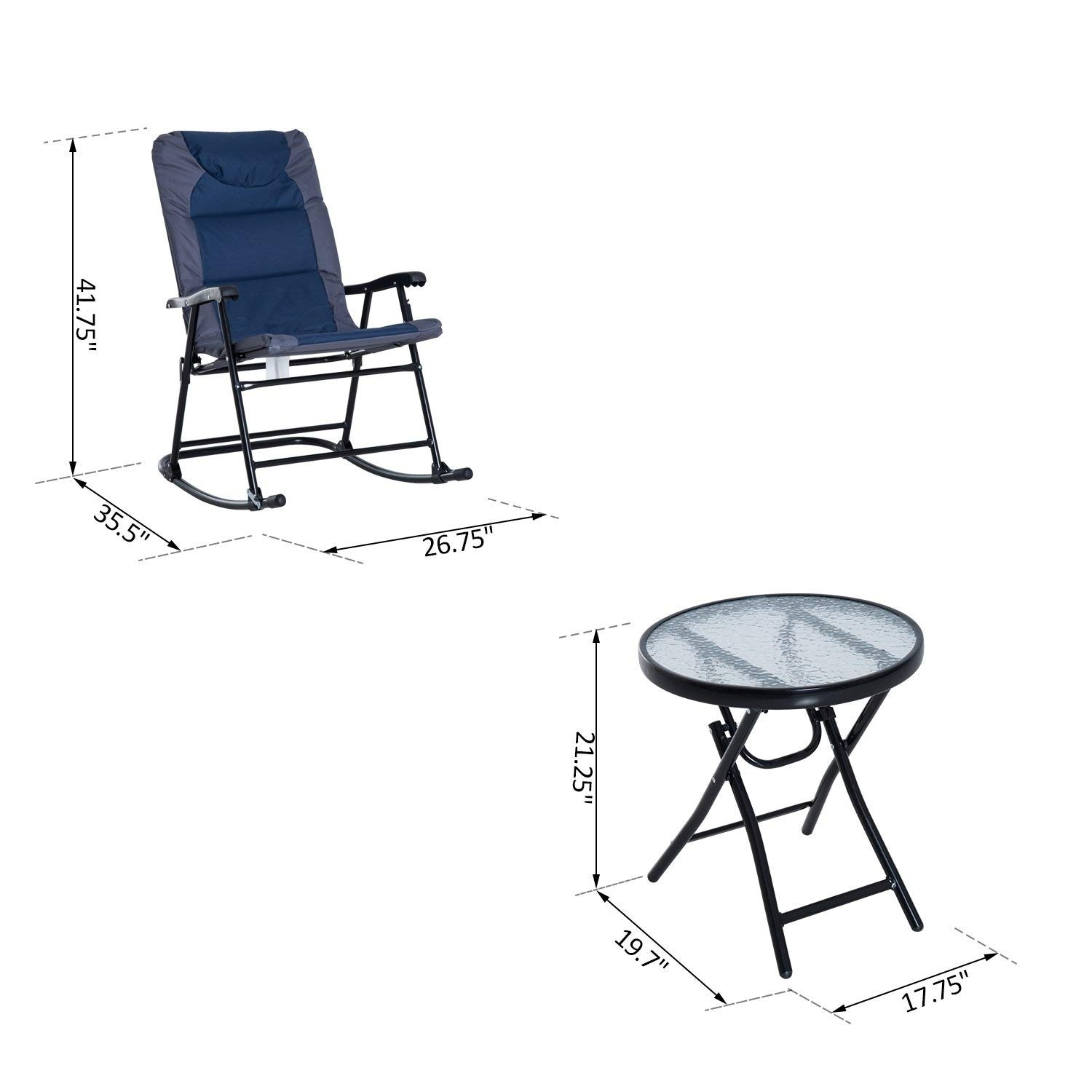 Outdoor Rocking Chair Set Outsunny 3 Piece Folding Outdoor Rocking Chair And Table Set Blue And Grey