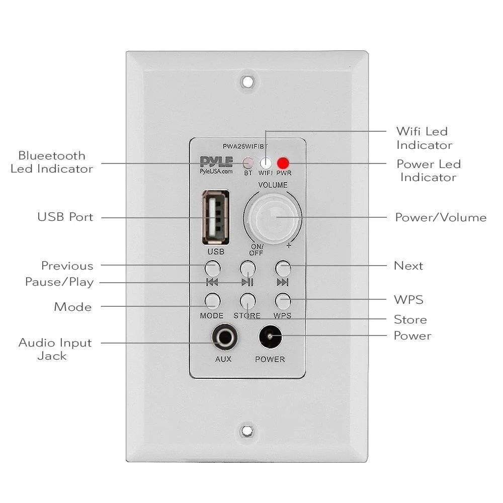 hight resolution of shop pyle pwa25wifibt in wall wi fi wireless audio control bluetooth wall plate switch receiver aux 3 5mm input white free shipping today