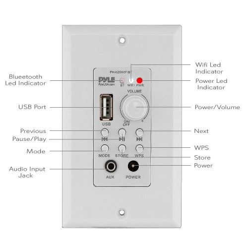 small resolution of shop pyle pwa25wifibt in wall wi fi wireless audio control bluetooth wall plate switch receiver aux 3 5mm input white free shipping today