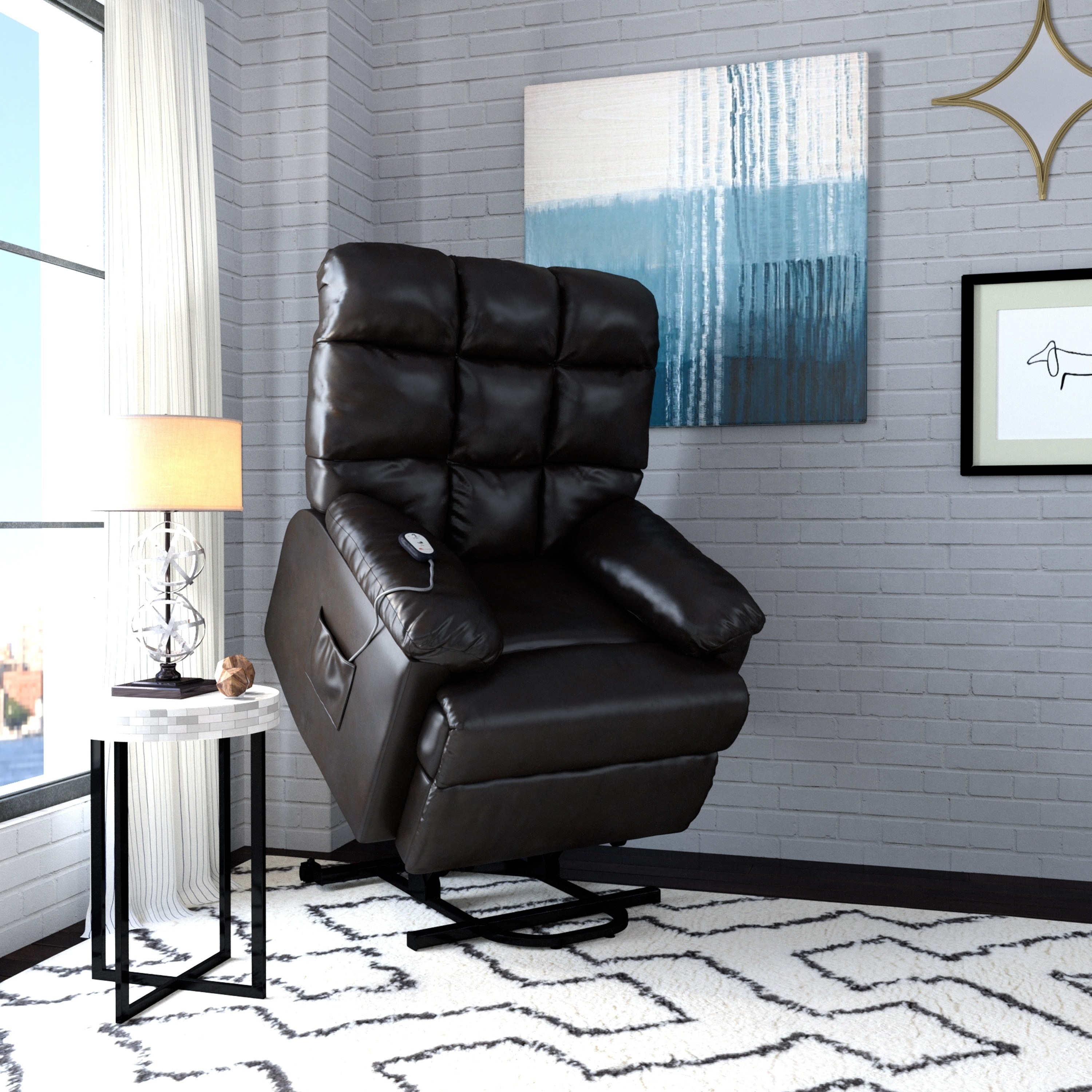 Wall Hugger Lift Chair Prolounger Power Recline And Lift Wall Hugger Chair In Coffee Brown Renu Leather