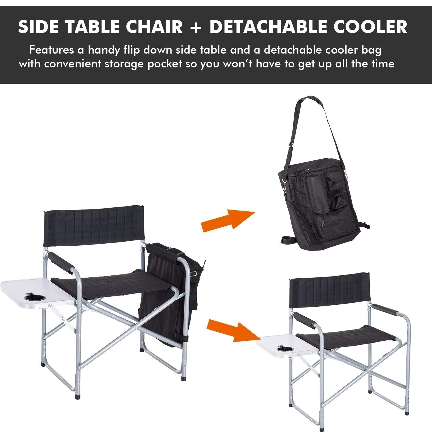 Folding Camp Chair With Side Table Outsunny Steel Director Folding Camp Chair With Side Table And Cooler Black