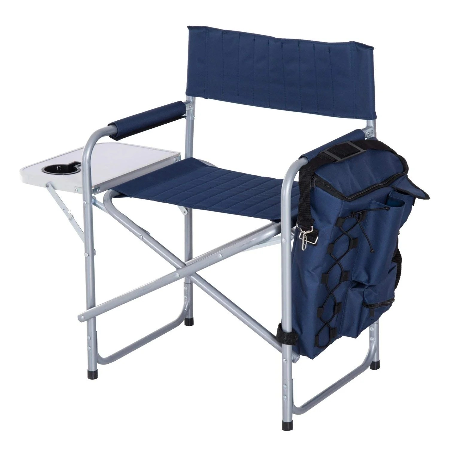 Folding Camp Chair With Side Table Outsunny Steel Director Folding Camp Chair With Side Table And Cooler Dark Blue