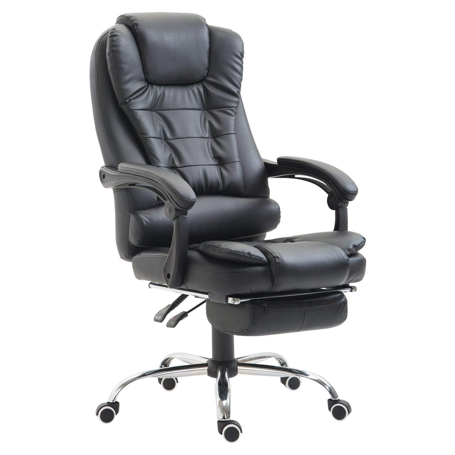 pu leather office chair floating lounge shop homcom high back reclining executive home with retractable footrest black