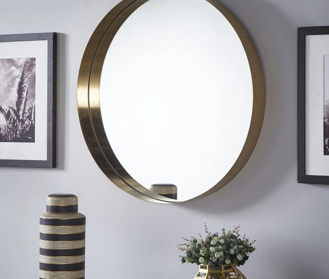 Avery Gold Finish Frame Ledge Round Wall Mirror By Inspire Q Bold A