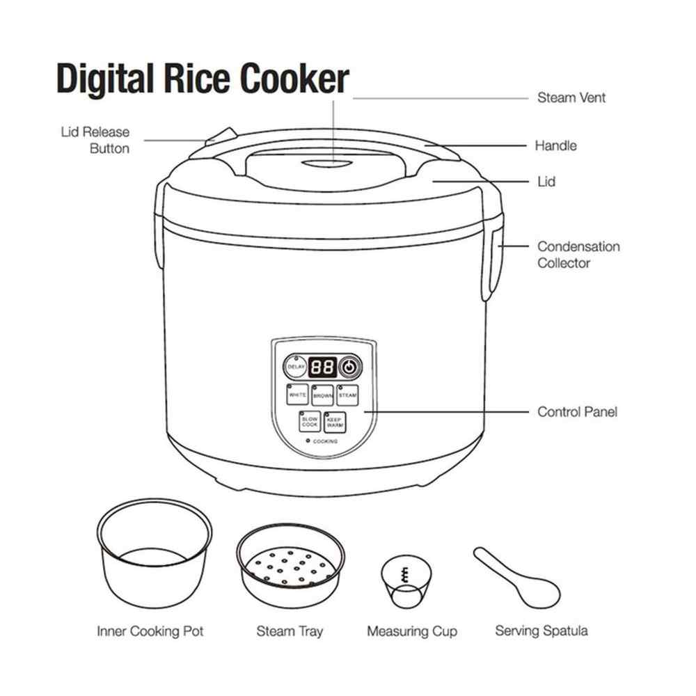 medium resolution of shop continental electric pro 20 cup digital rice cooker stainless steel free shipping today overstock 22544912