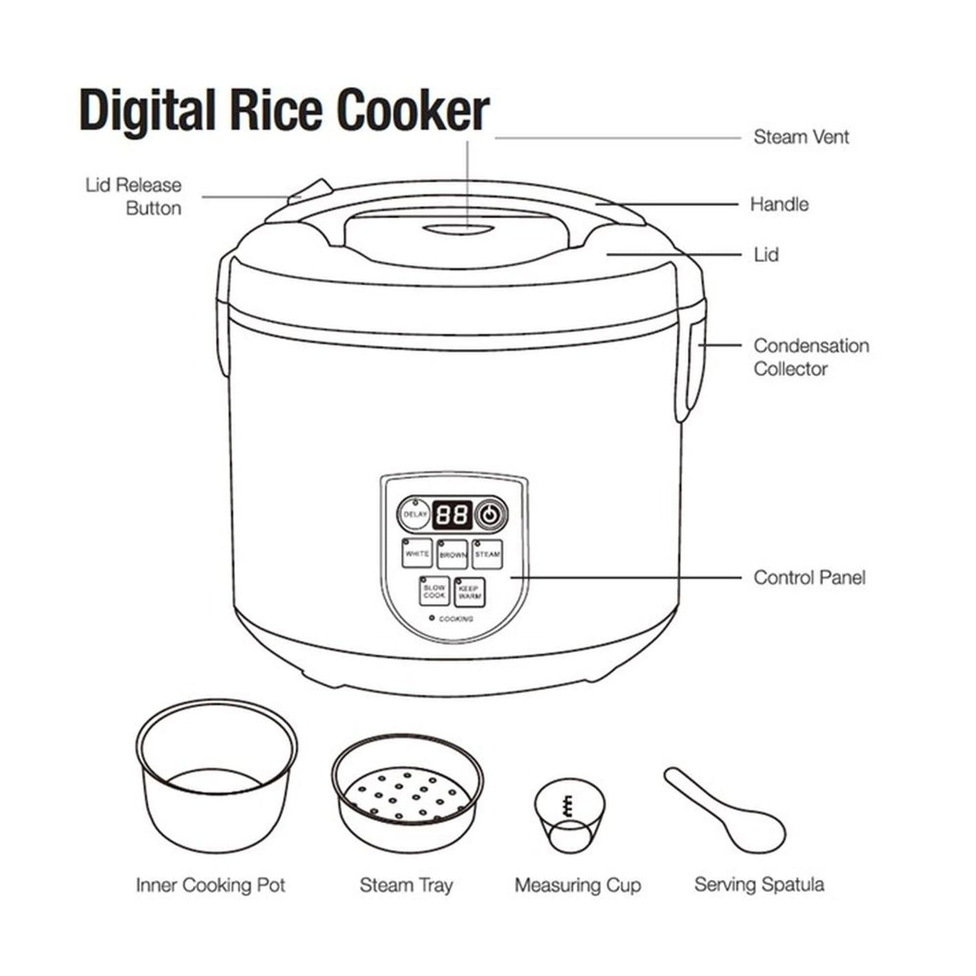 hight resolution of shop continental electric pro 20 cup digital rice cooker stainless steel free shipping today overstock 22544912