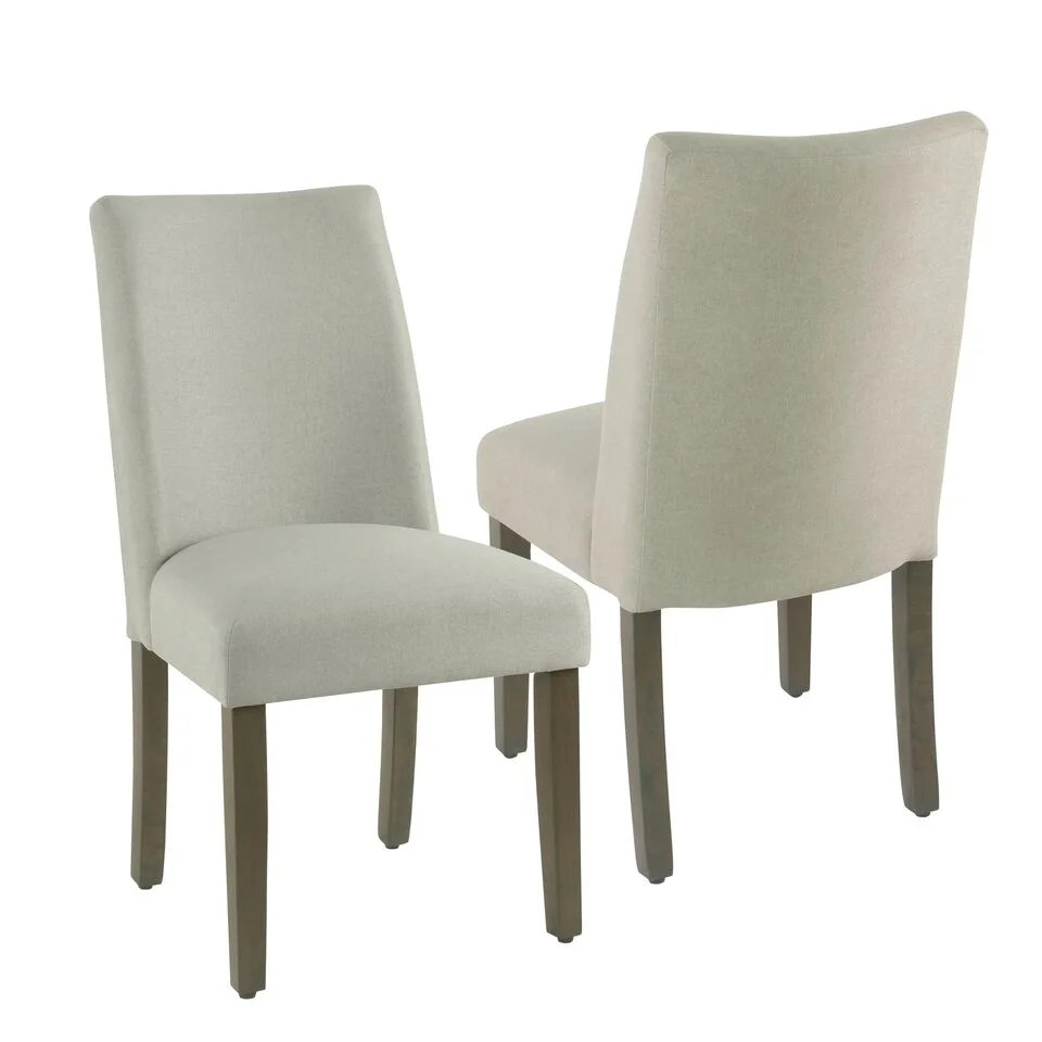 Curved Back Chair Homepop Marin Curved Back Dining Chair Stain Resistant Dove Fabric Set Of 2