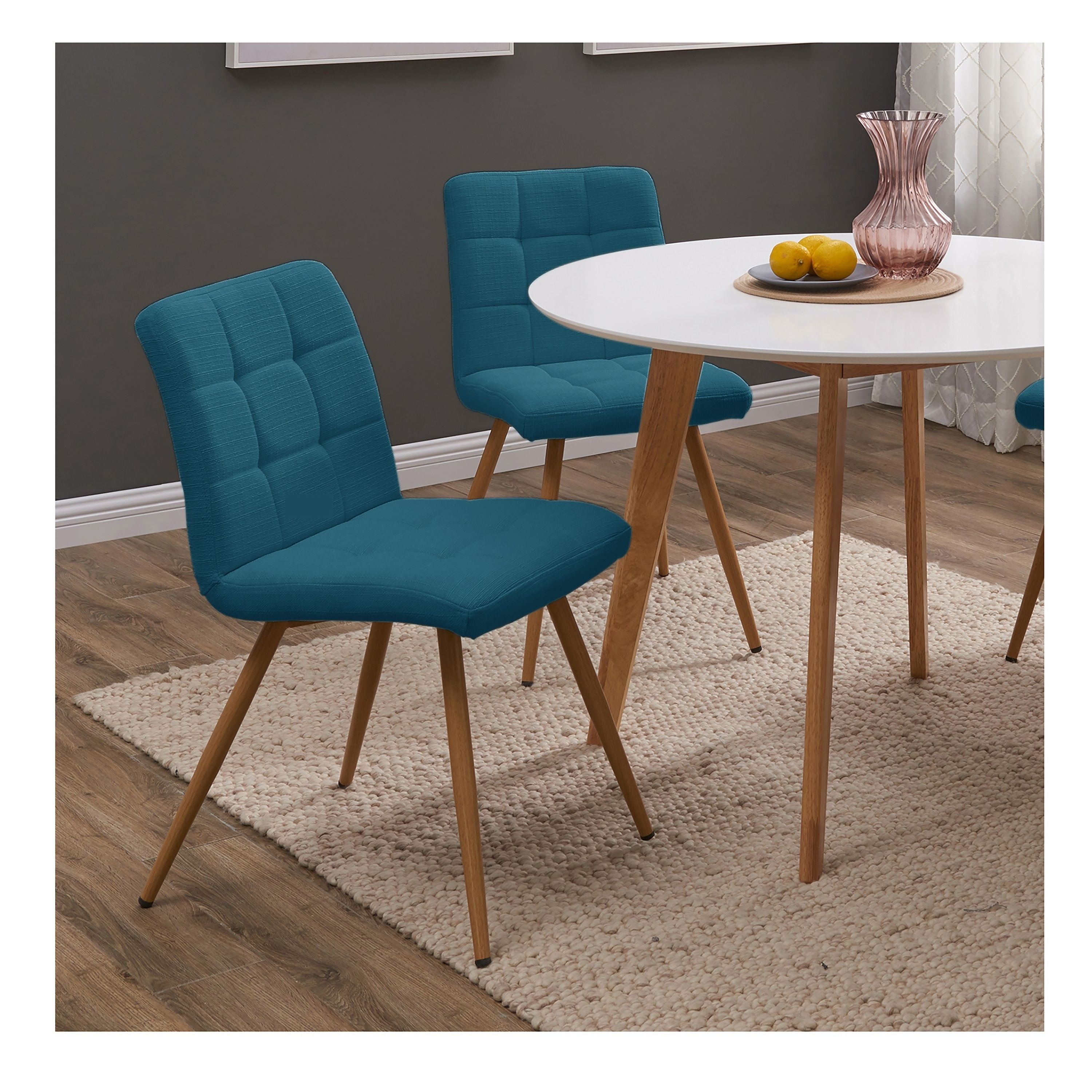 Blue Dining Chairs Handy Living Manzanola Peacock Blue Linen Armless Upholstered Dining Chairs Set Of 4