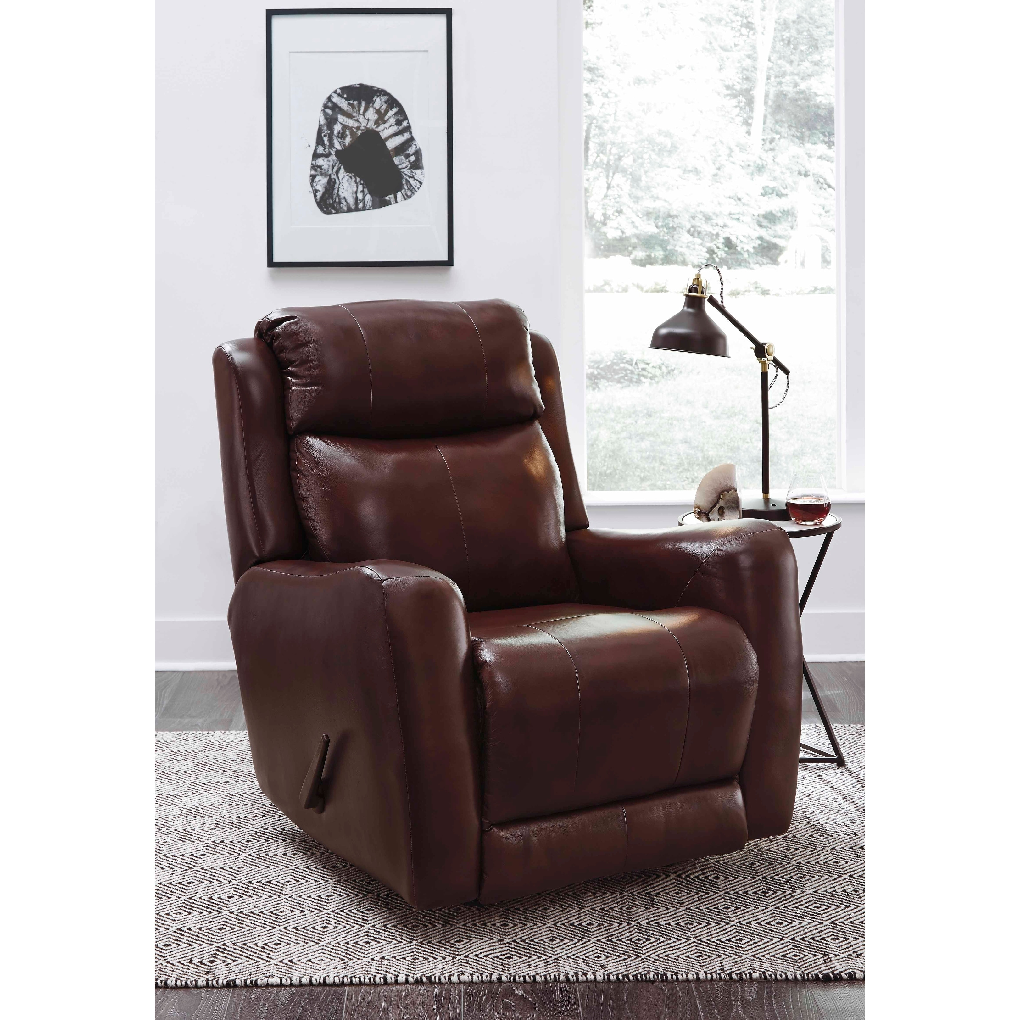 Swivel Rocker Recliner Chair Southern Motion S View Point Brown Leather Swivel Rocker Recliner